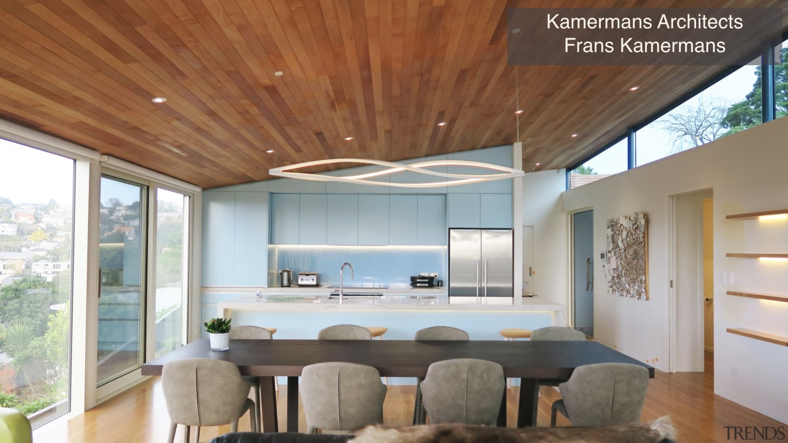 Highly Commended – Kamermans Architects – Tida New architecture, ceiling, daylighting, estate, home, house, interior design, living room, real estate, window, brown, gray