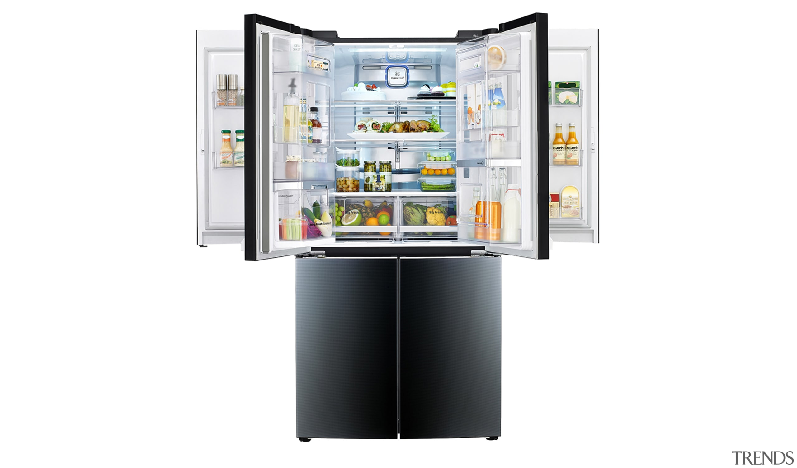 The LG Dual Door-in-door fridge - home appliance home appliance, interactive kiosk, kitchen appliance, major appliance, product, refrigerator, white