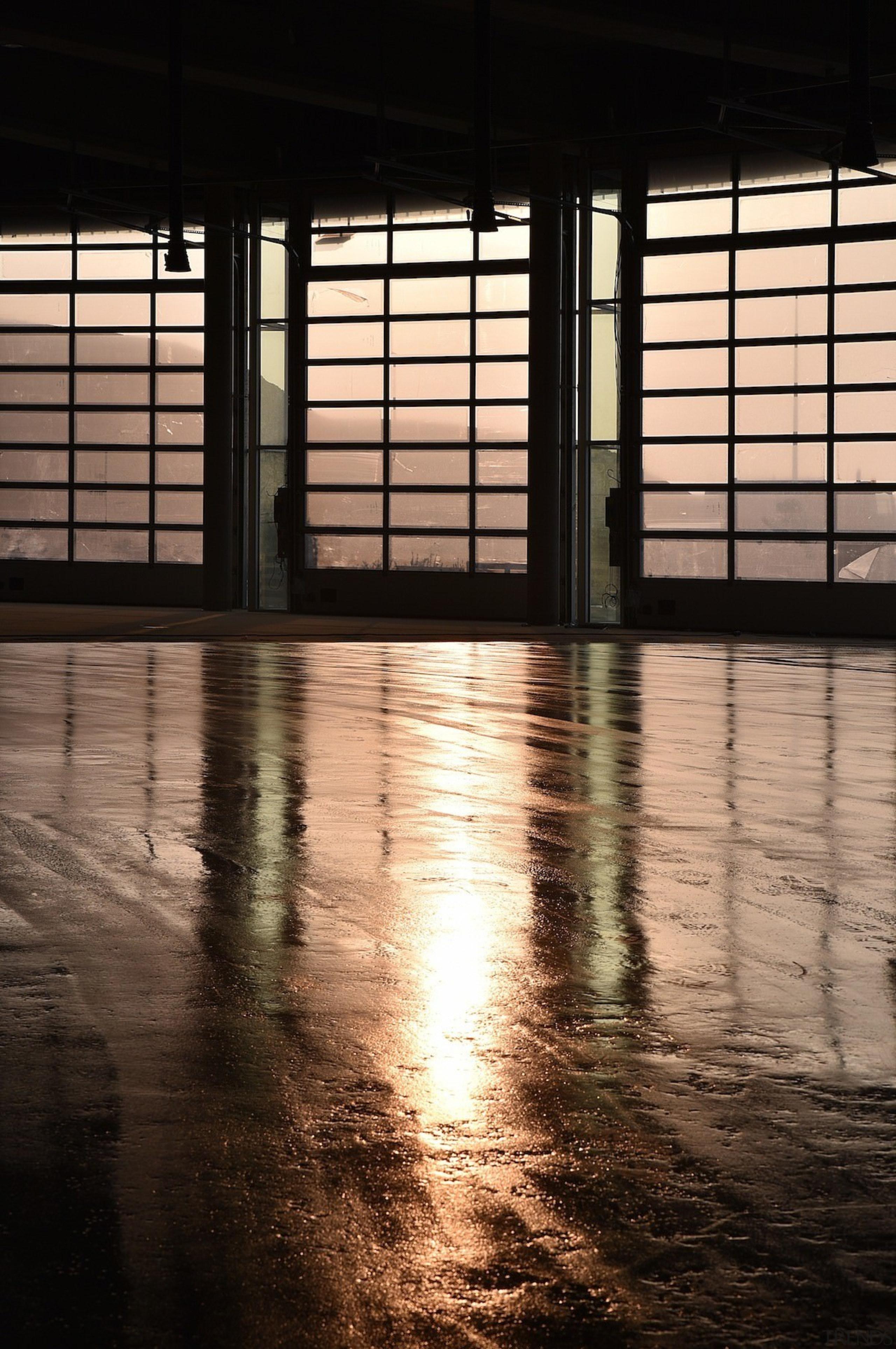 569 firestation - 569 firestation - architecture | architecture, evening, floor, flooring, light, lighting, line, reflection, shadow, structure, sunlight, water, window, wood, black
