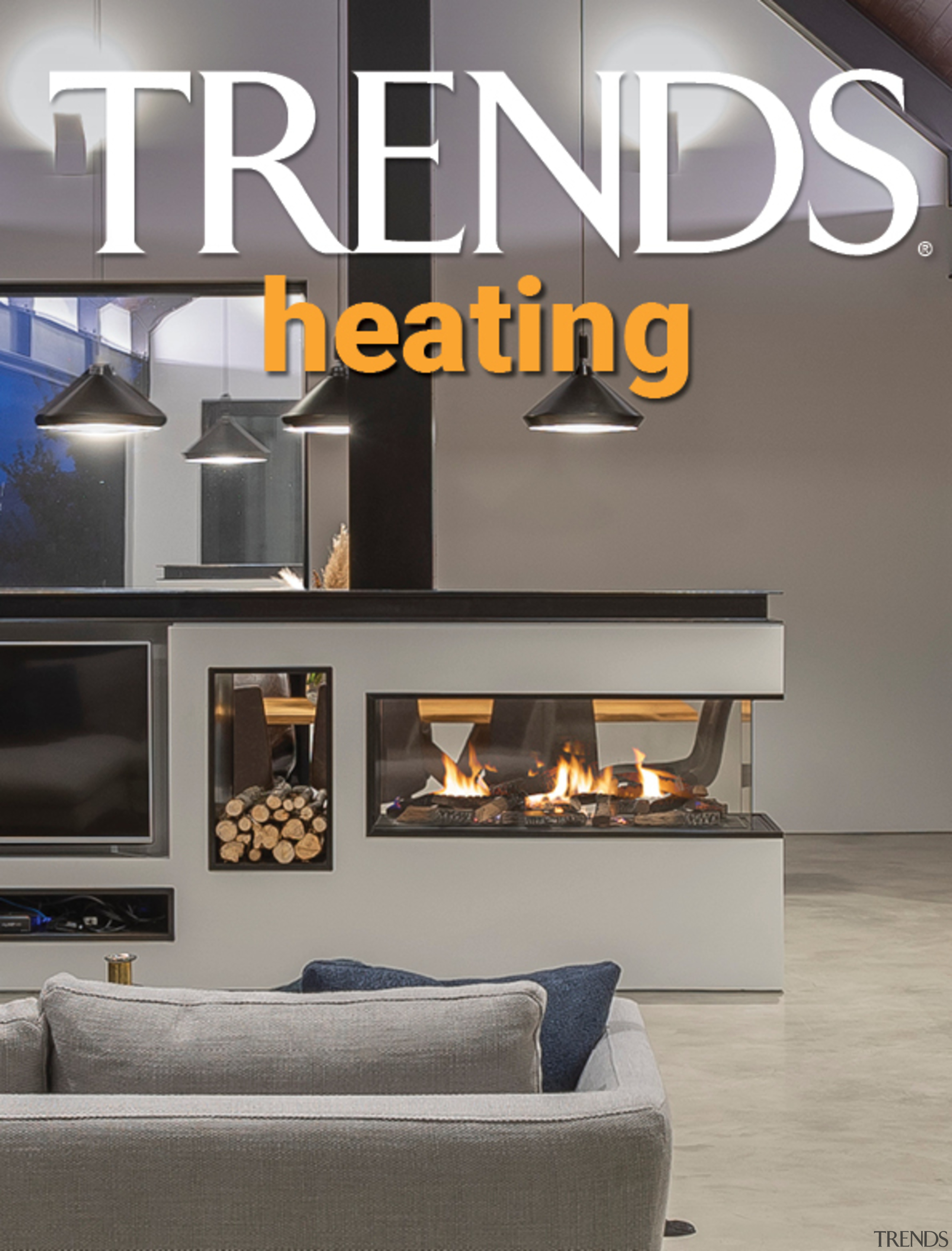 TRENDS MINI COVER 08 heating - architecture | architecture, ceiling, design, fireplace, floor, font, furniture, hearth, heat, home, house, interior design, lighting, living room, property, room, wall, gray