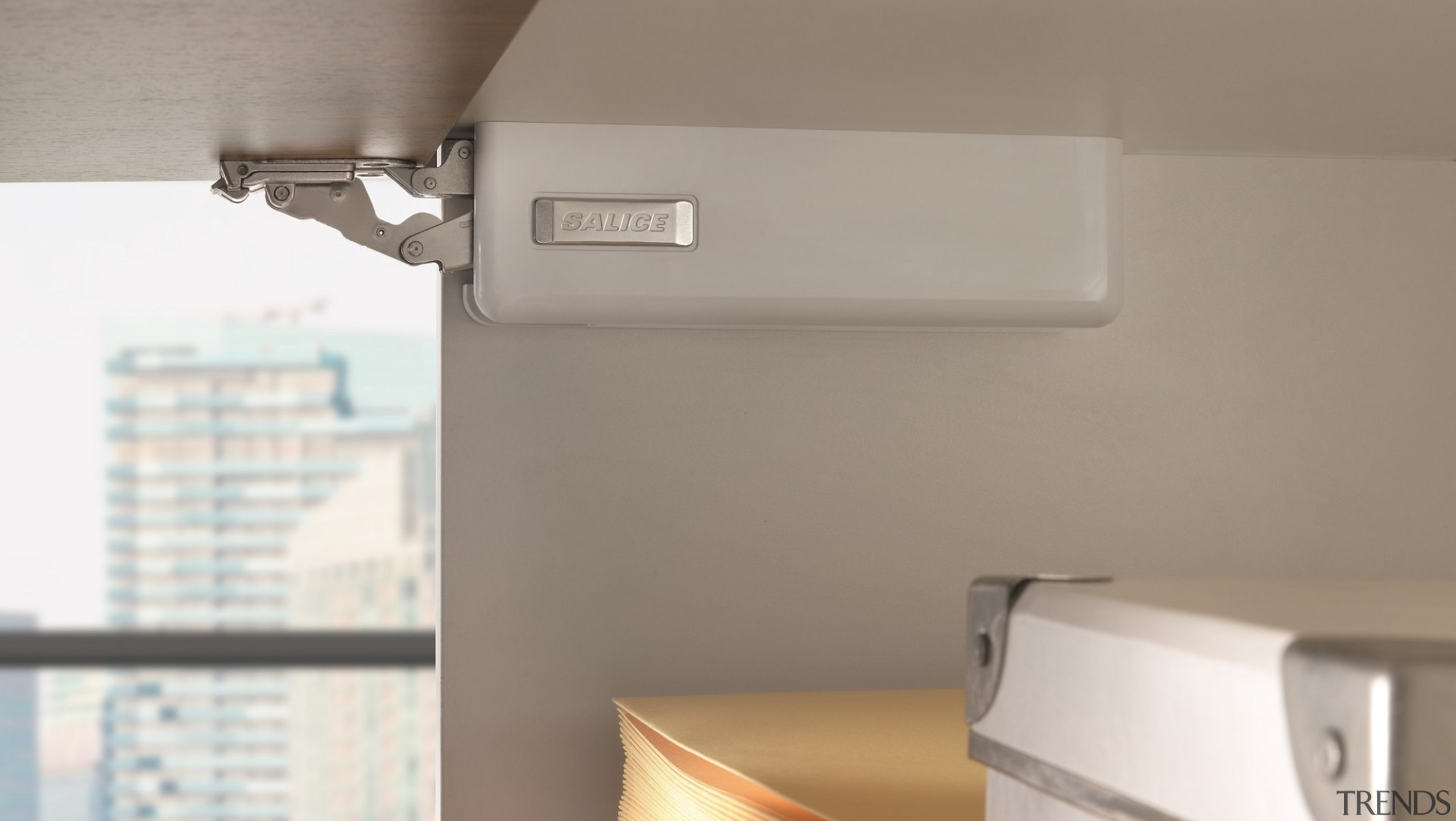 Salice's Wind is an elegant, unobtrusive overhead lift lighting, product, gray