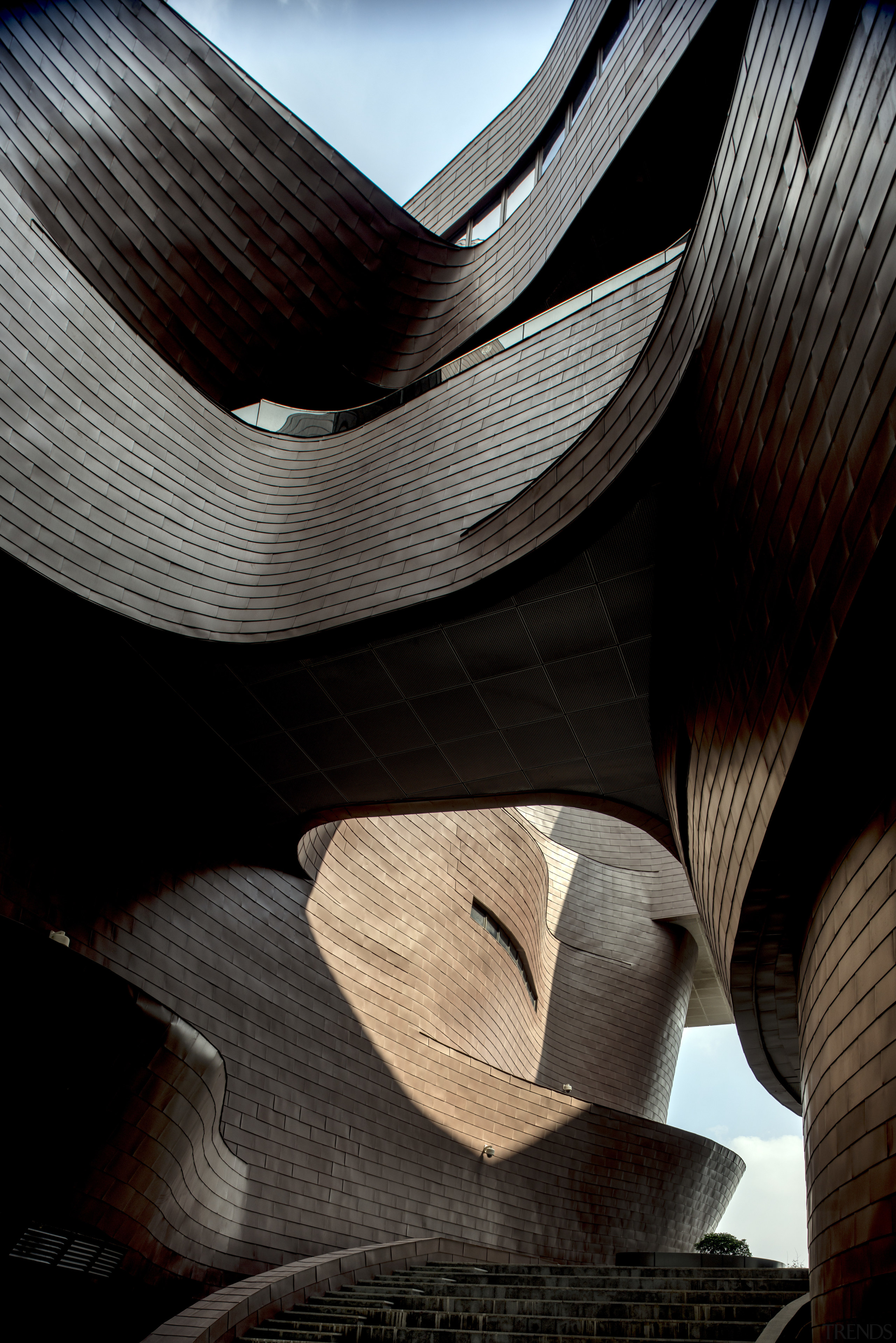 A view up past the podium level of architecture, design, line, black