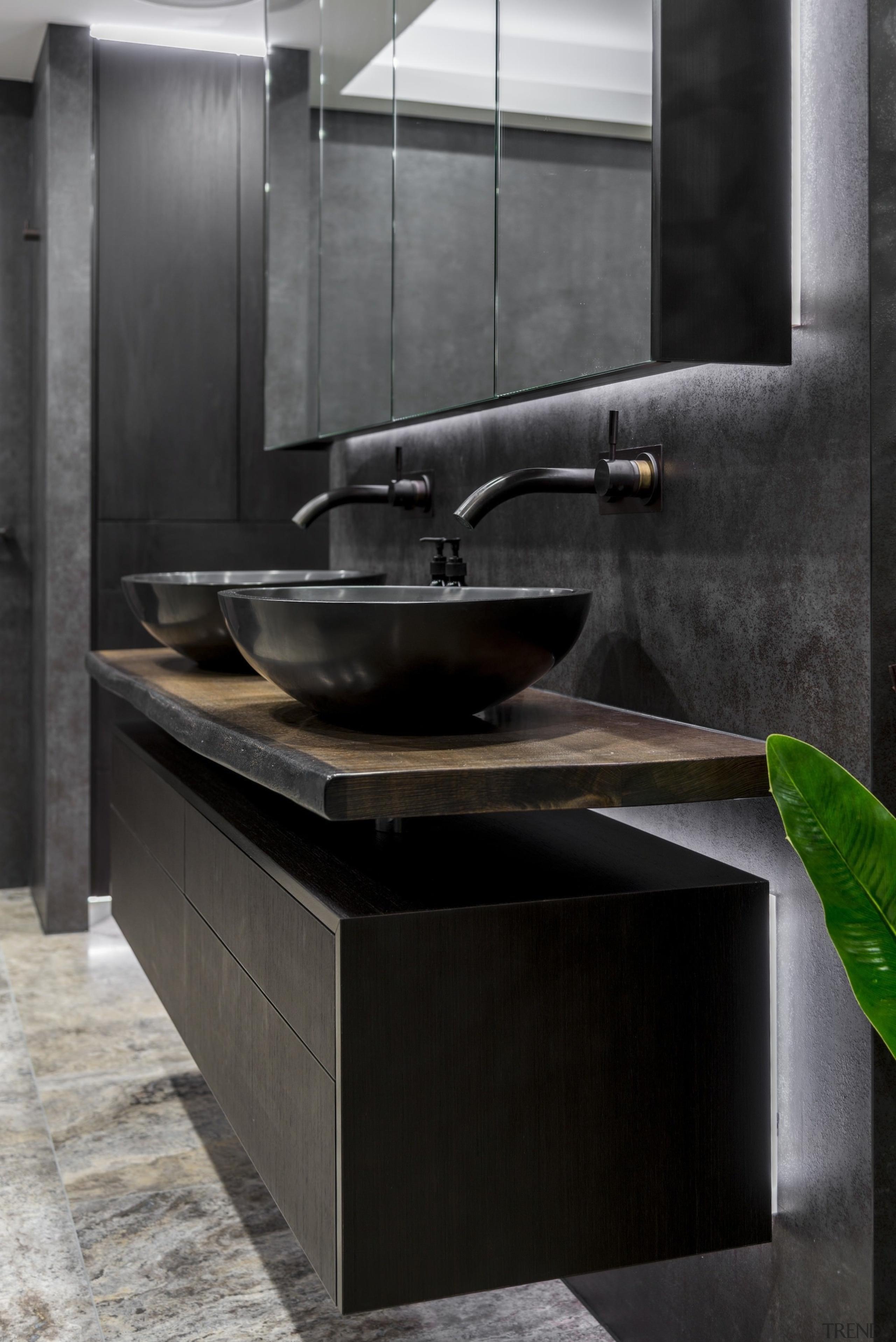 Sublime Architectural Interiors - TIDA AUS 2017 – bathroom, bathroom sink, ceramic, countertop, interior design, plumbing fixture, sink, tap, tile, black, gray