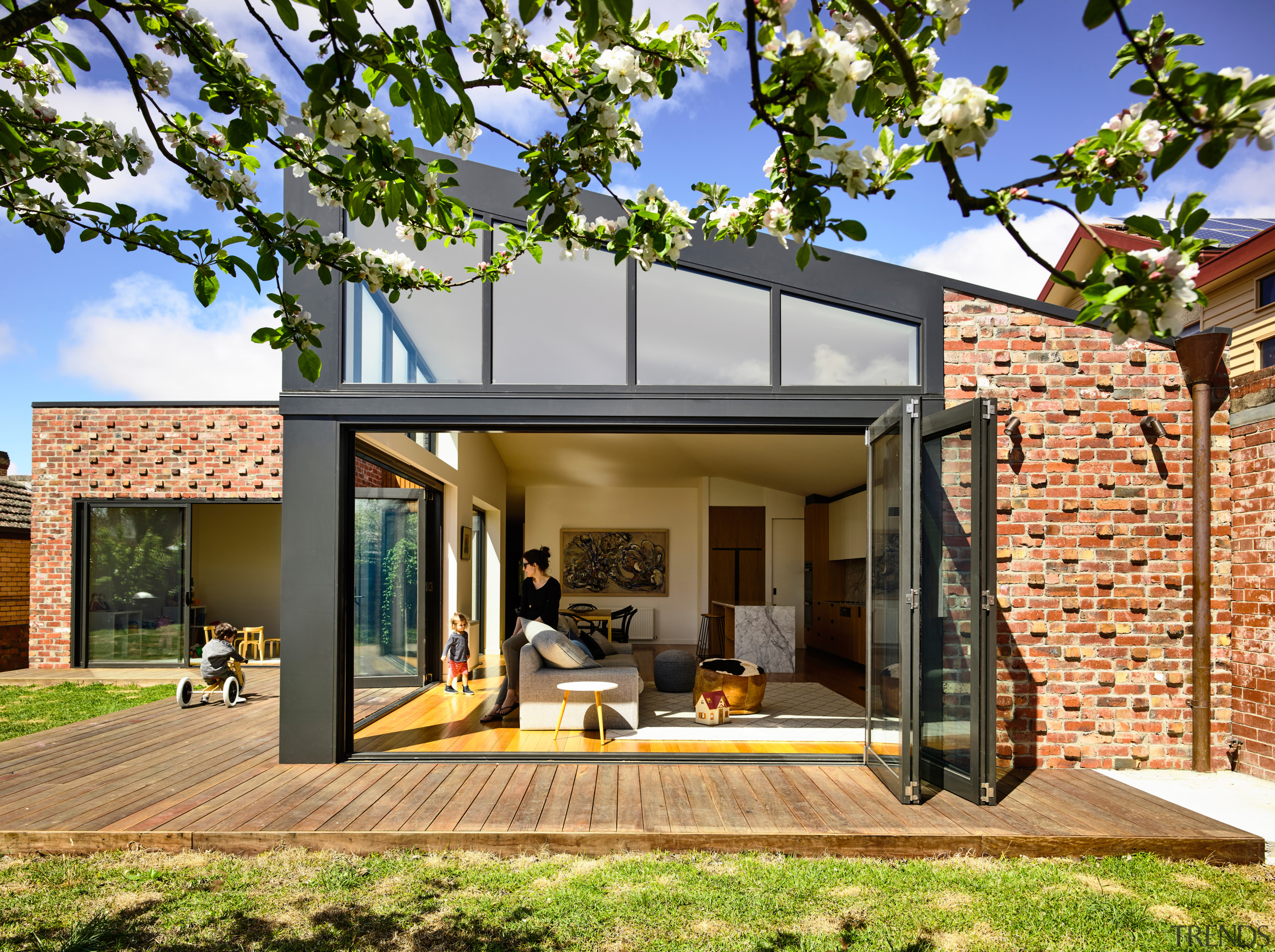How do you keep your interior cool over architecture, estate, facade, home, house, property, residential, brick, bifold windows, Porter Architecture