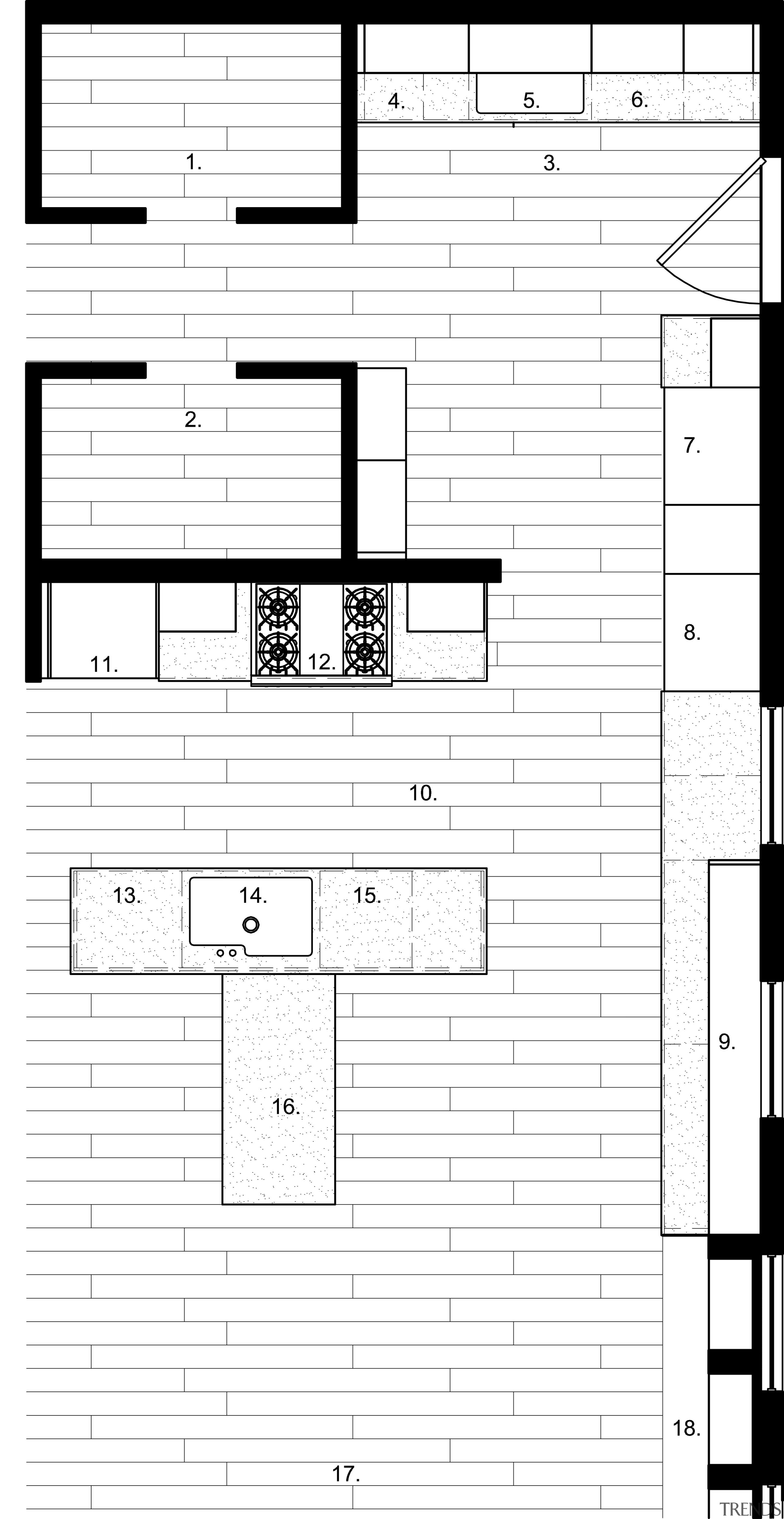 View of a kitchen which combines commerical touches angle, area, black and white, design, diagram, drawing, font, line, music, product design, square, structure, text, white