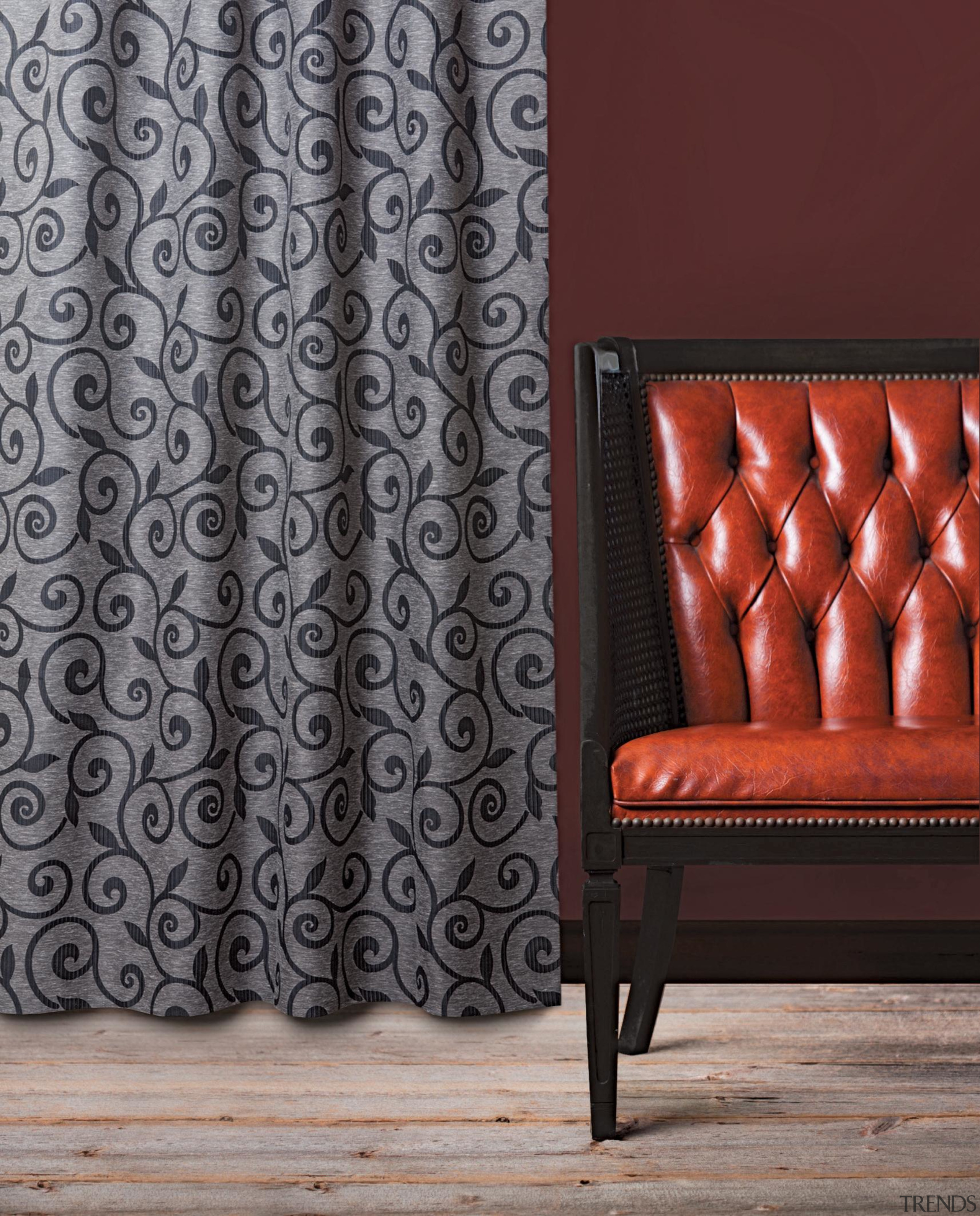 Lyrical Room Charcoal - curtain | floor | curtain, floor, interior design, pattern, textile, wall, window covering, window treatment, gray, red