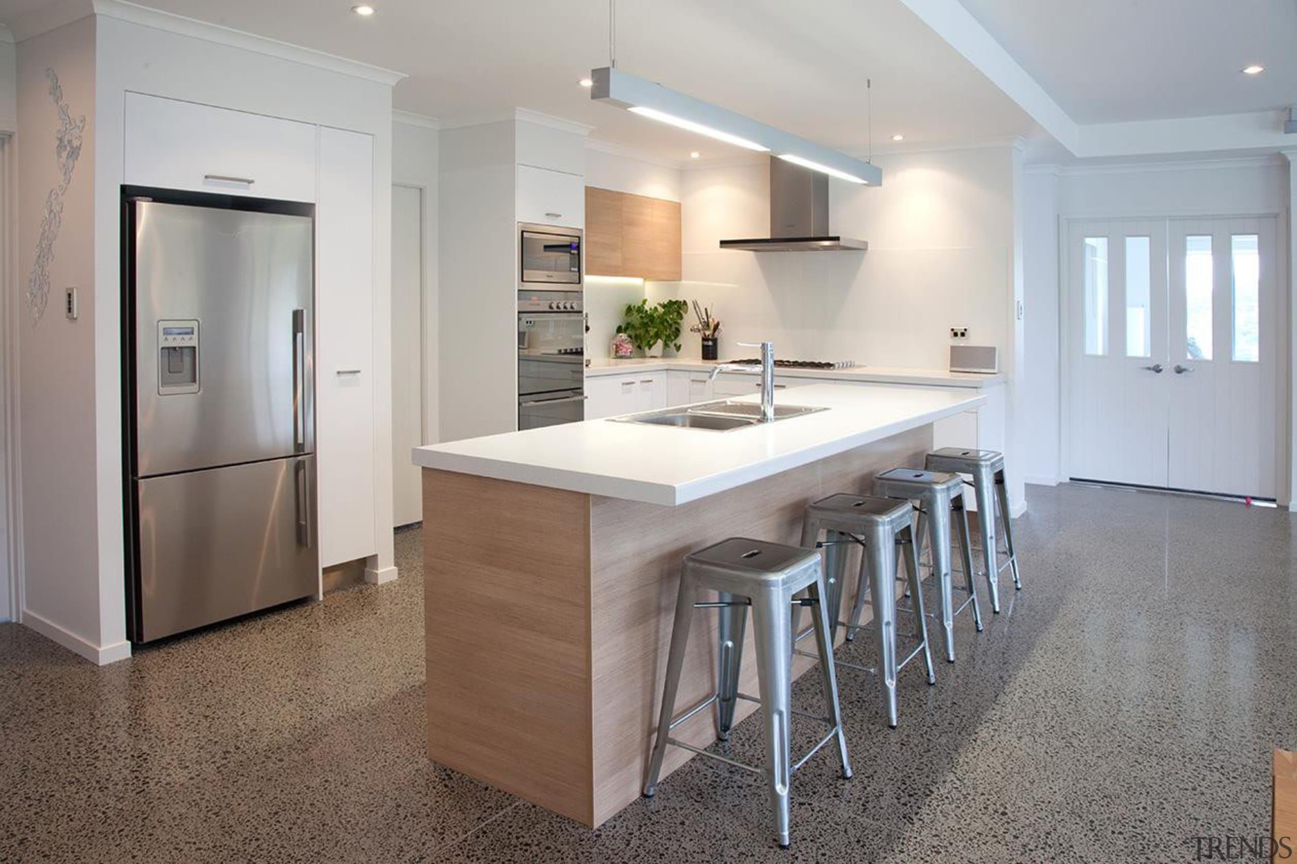 For more information, please visit www.gjgardner.co.nz cabinetry, countertop, cuisine classique, floor, flooring, interior design, kitchen, real estate, room, wood flooring, gray
