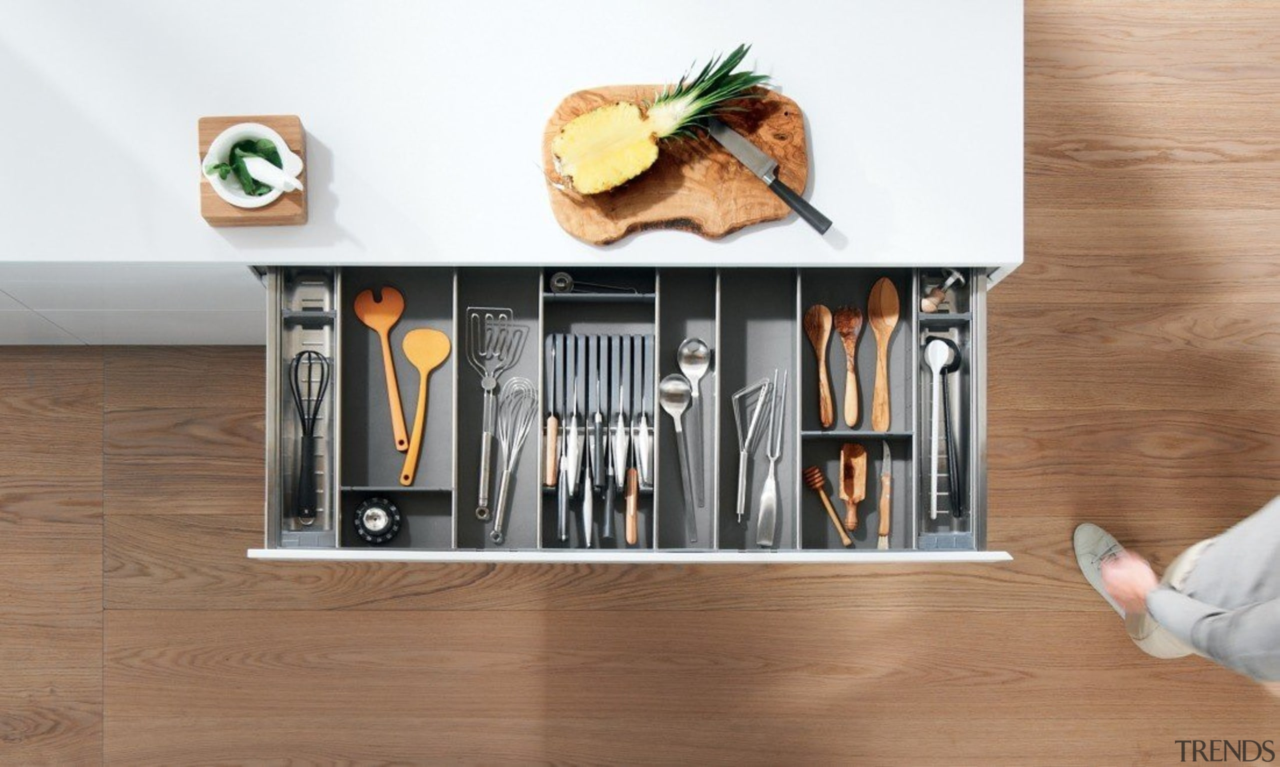 ORGA-LINE inner dividing system – so many practical floor, furniture, product, product design, shelf, shelving, table, brown, white