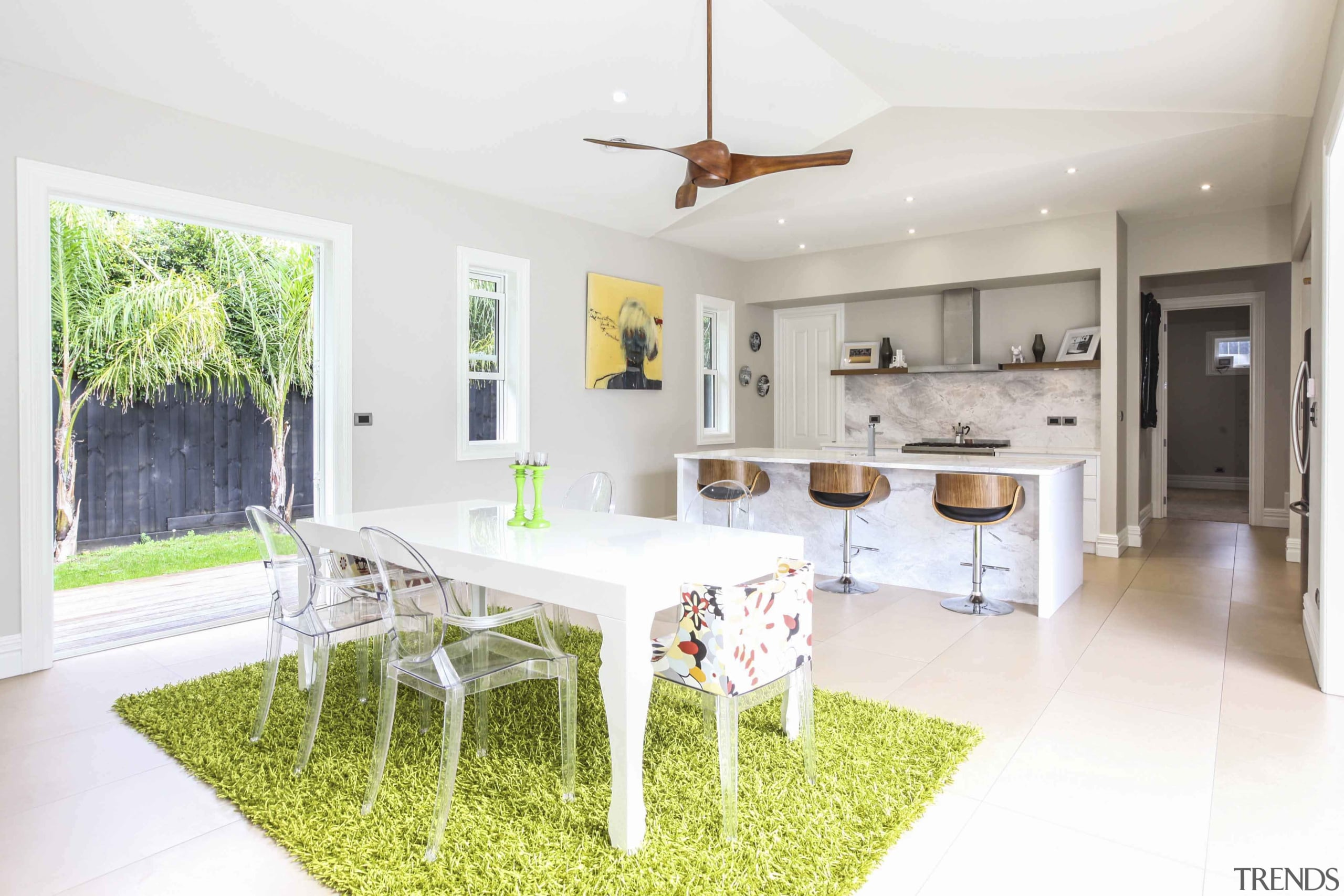 This kitchen features easy access to the outside dining room, estate, home, interior design, kitchen, property, real estate, room, table, white