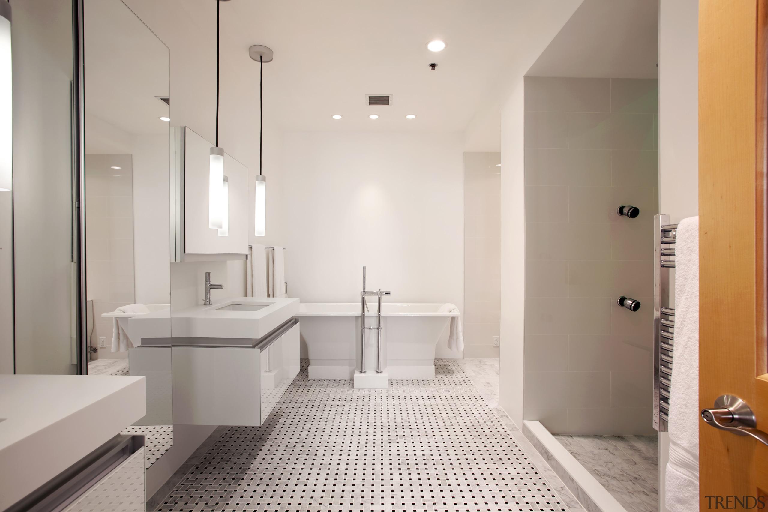 Fresh white bathroom with chromatherapy - Fresh white architecture, bathroom, ceiling, floor, flooring, home, interior design, property, real estate, room, sink, tile, gray