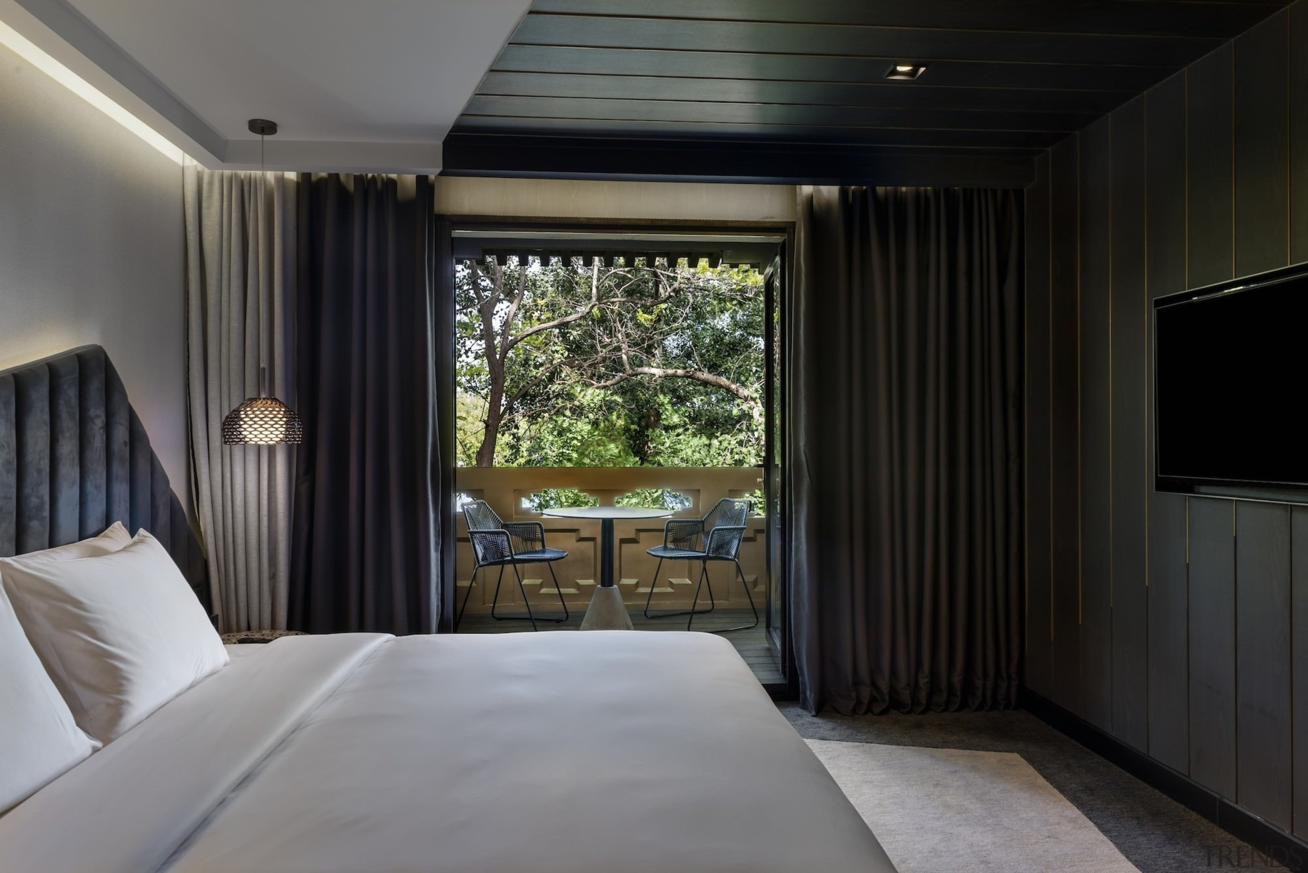 One of the more tame rooms, this space architecture, bedroom, ceiling, estate, home, house, interior design, real estate, room, suite, window, black, gray