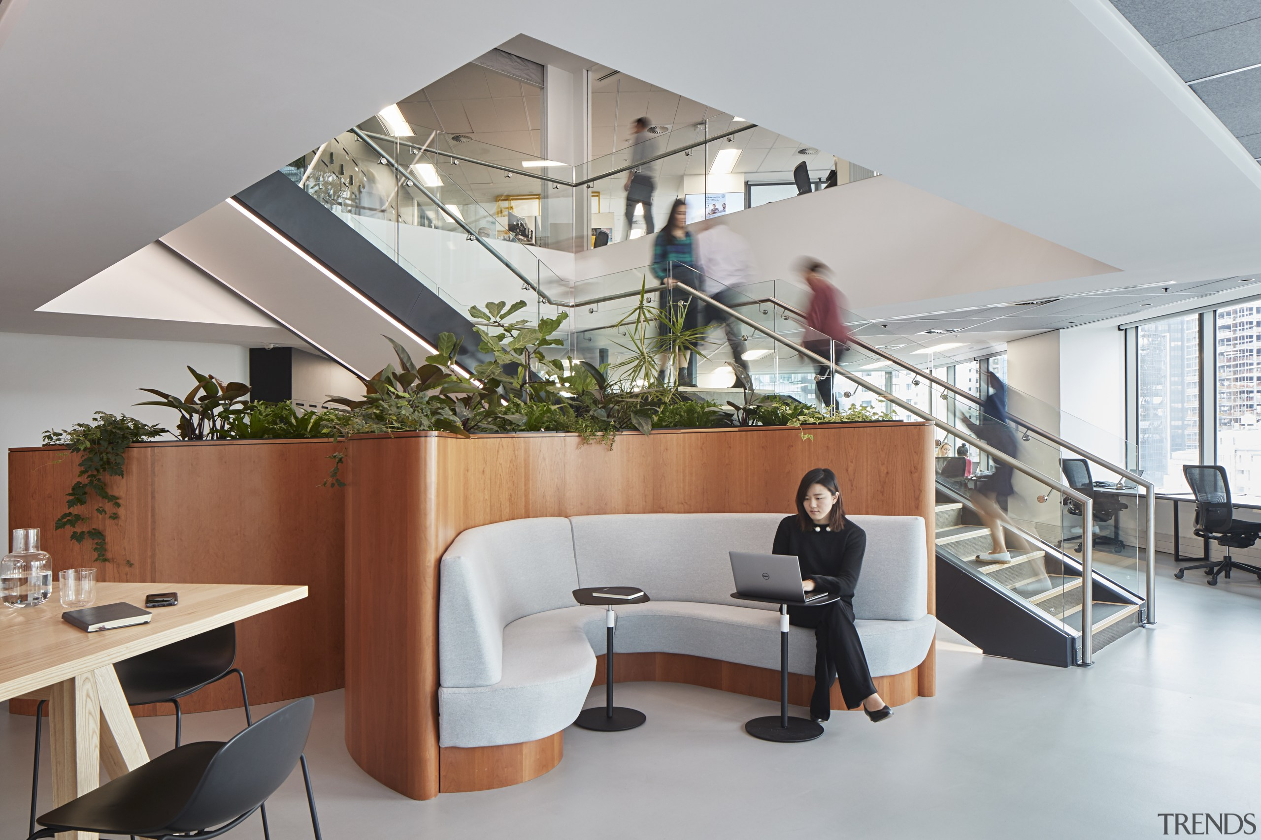 The central staircase was a major engineering and architecture, furniture, interior design, office, gray