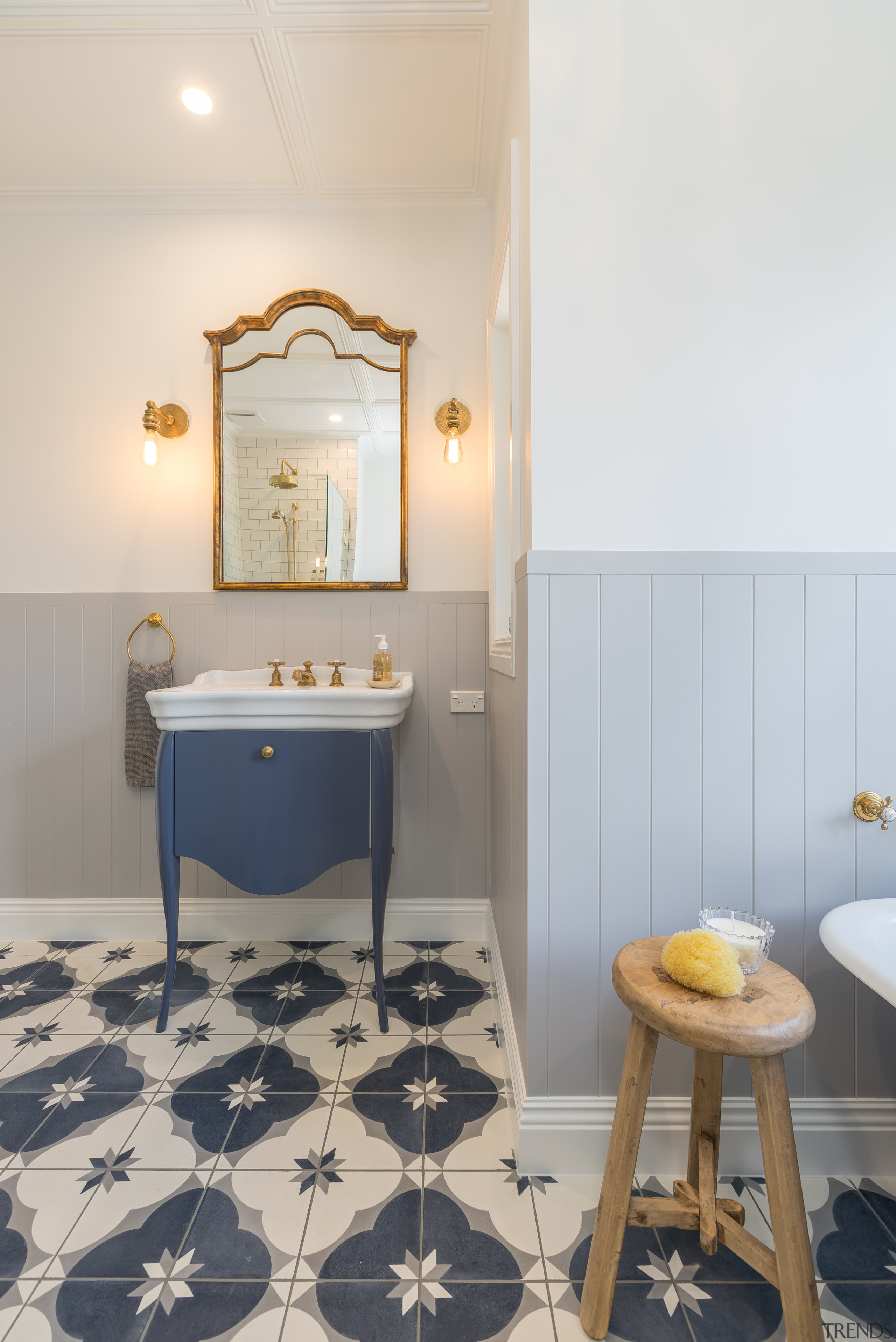 Traditional children's bathroom - architecture   bathroom   architecture, bathroom, building, ceiling, chair, floor, flooring, furniture, home, house, interior design, property, real estate, room, table, tile, yellow, gray