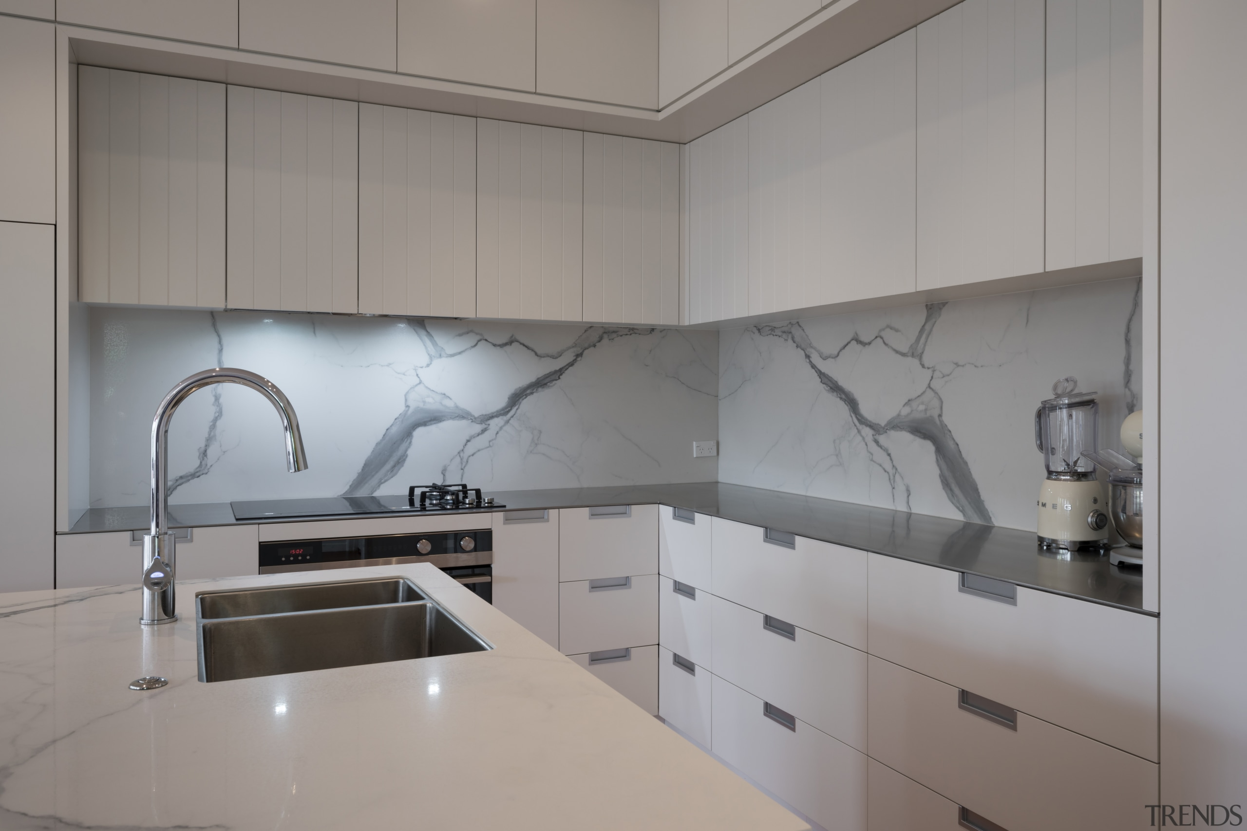 ​​​​​​​Making a splash – impervious to heat, stains, architecture, countertop, interior design, kitchen, under cabinet lighting, Florim Stone, Archant