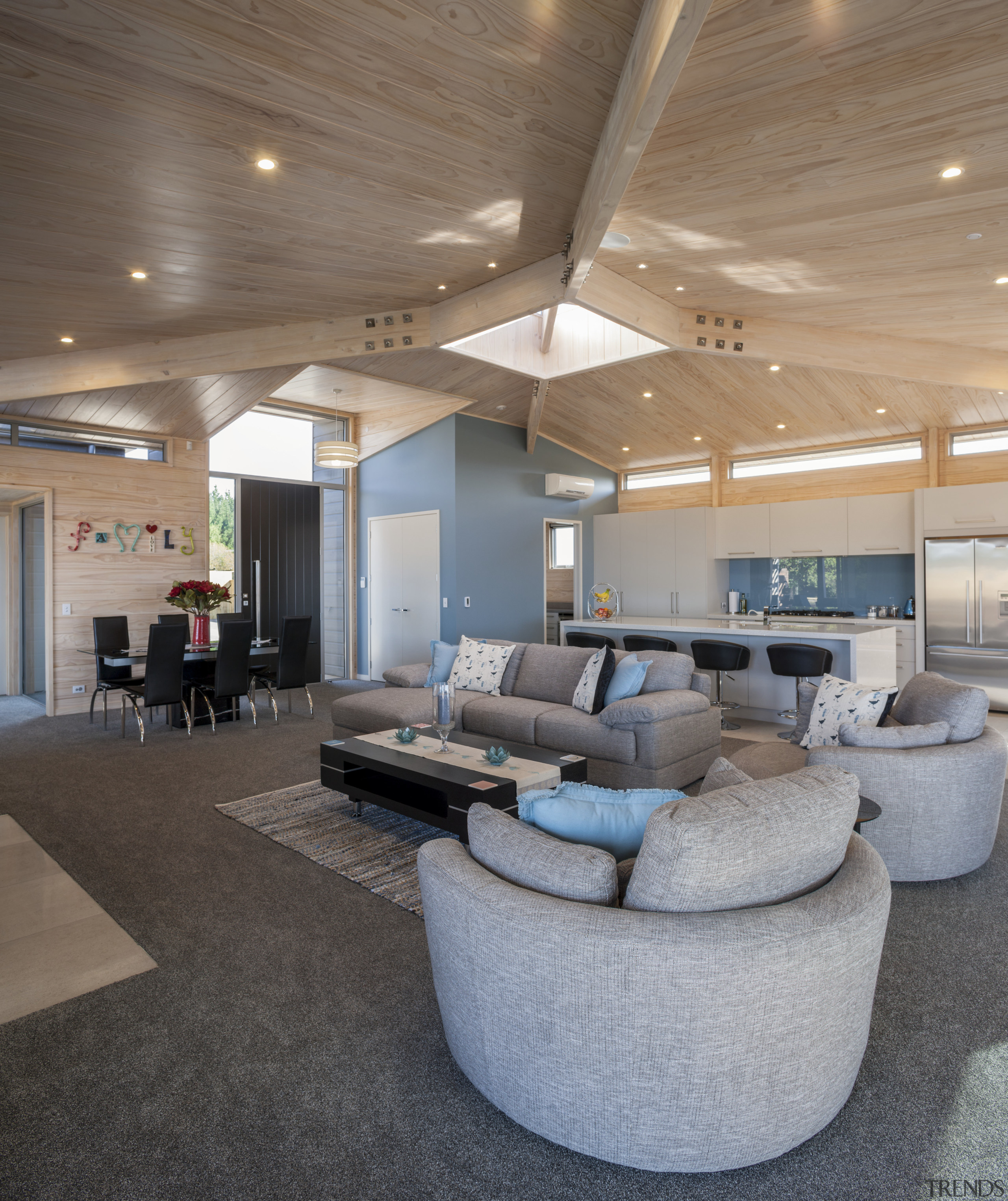 Lockwood Home built by Peter Richards - Lockwood architecture, ceiling, floor, flooring, interior design, living room, lobby, real estate, gray, brown