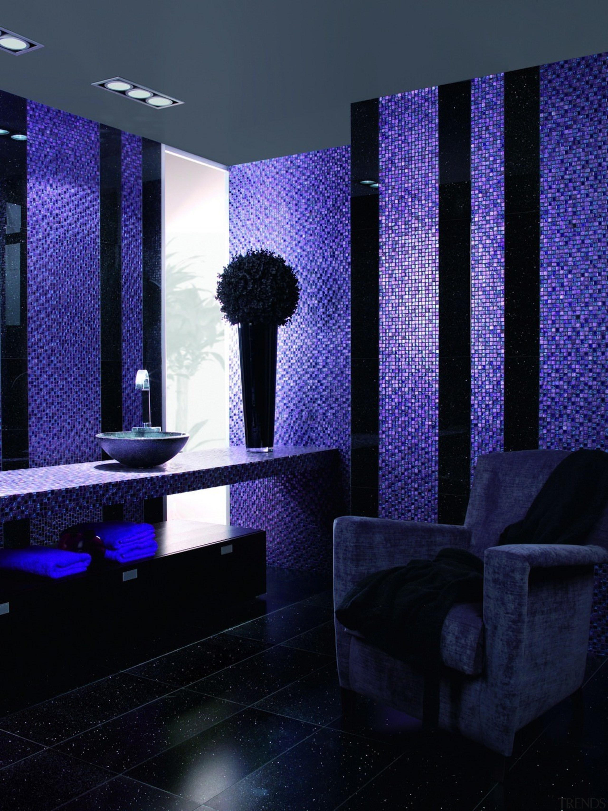 The mosaic tile's creative potential is unlimited architecture, blue, ceiling, daylighting, interior design, light, lighting, purple, room, wall, black, blue