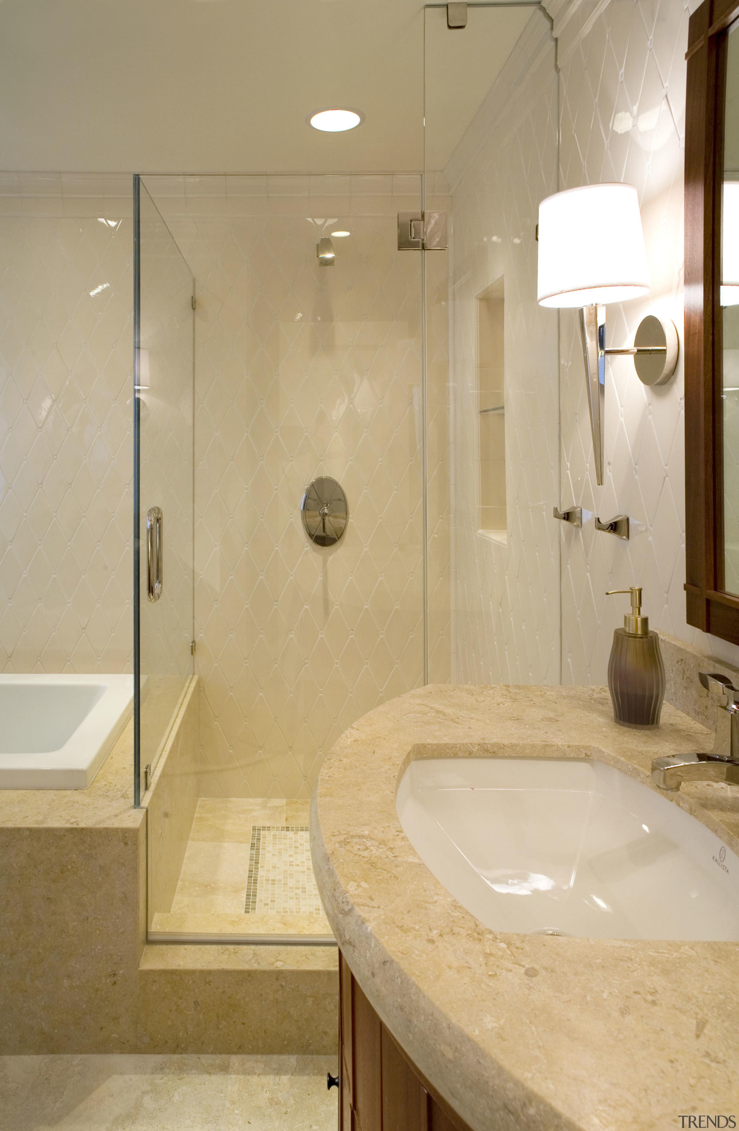 A view of some bathroomware from NKBA. - bathroom, floor, interior design, plumbing fixture, property, room, sink, tap, tile, orange, brown
