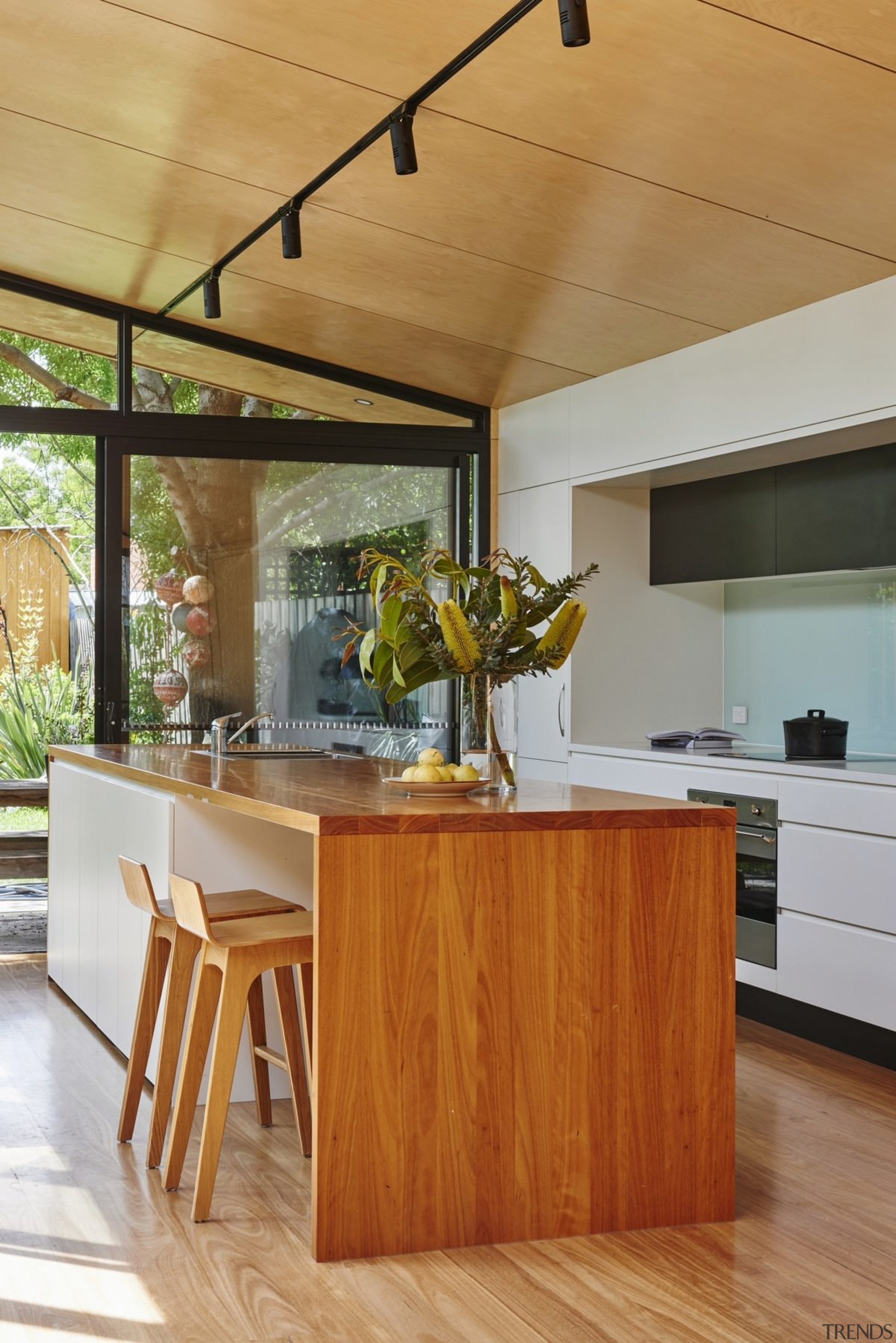 The island is simple and elegant - The architecture, countertop, furniture, hardwood, house, interior design, kitchen, table, wood, brown