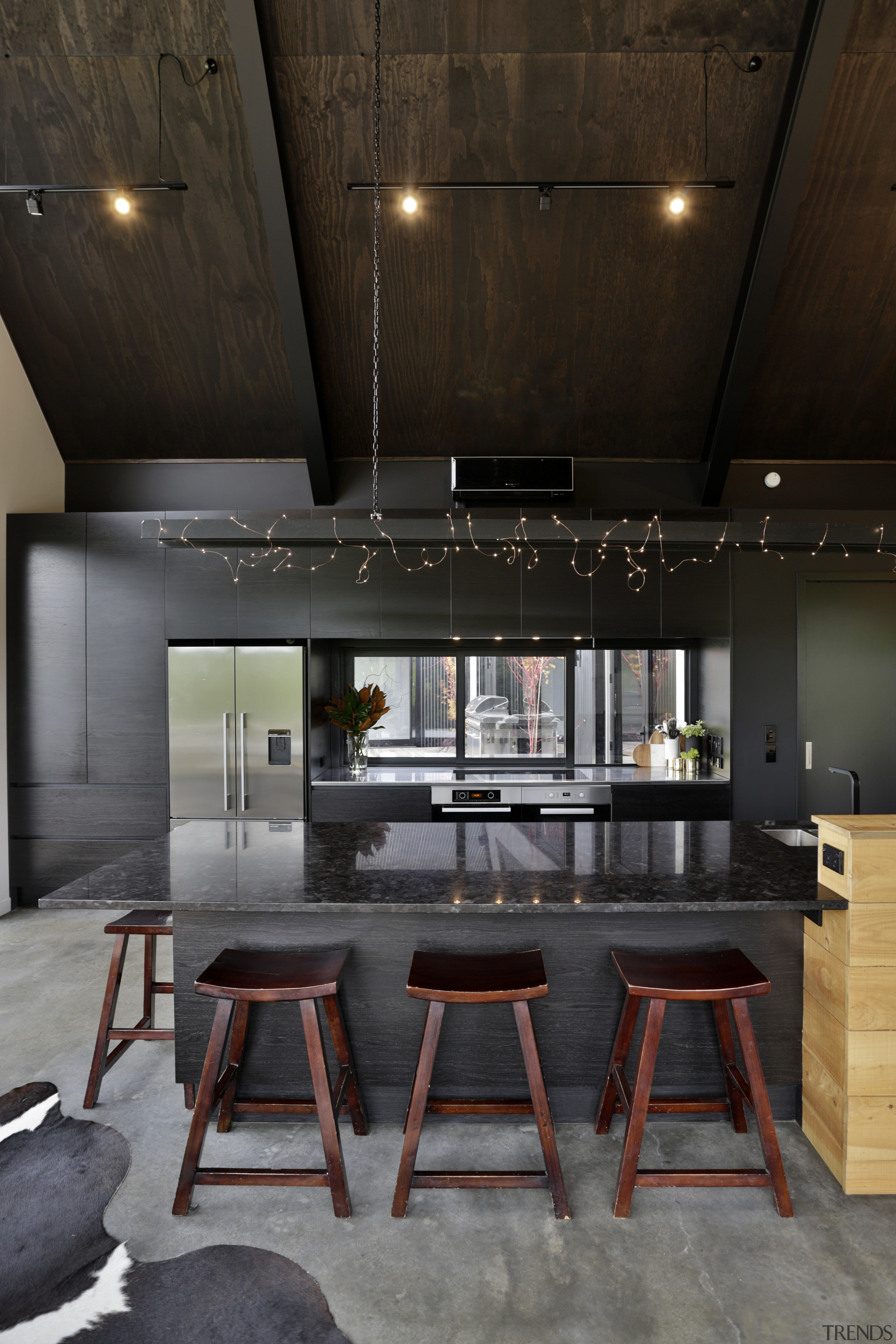 For this kitchen by Kyla Hunt of Carlielle architecture, ceiling, countertop, house, interior design, kitchen, loft, table, black