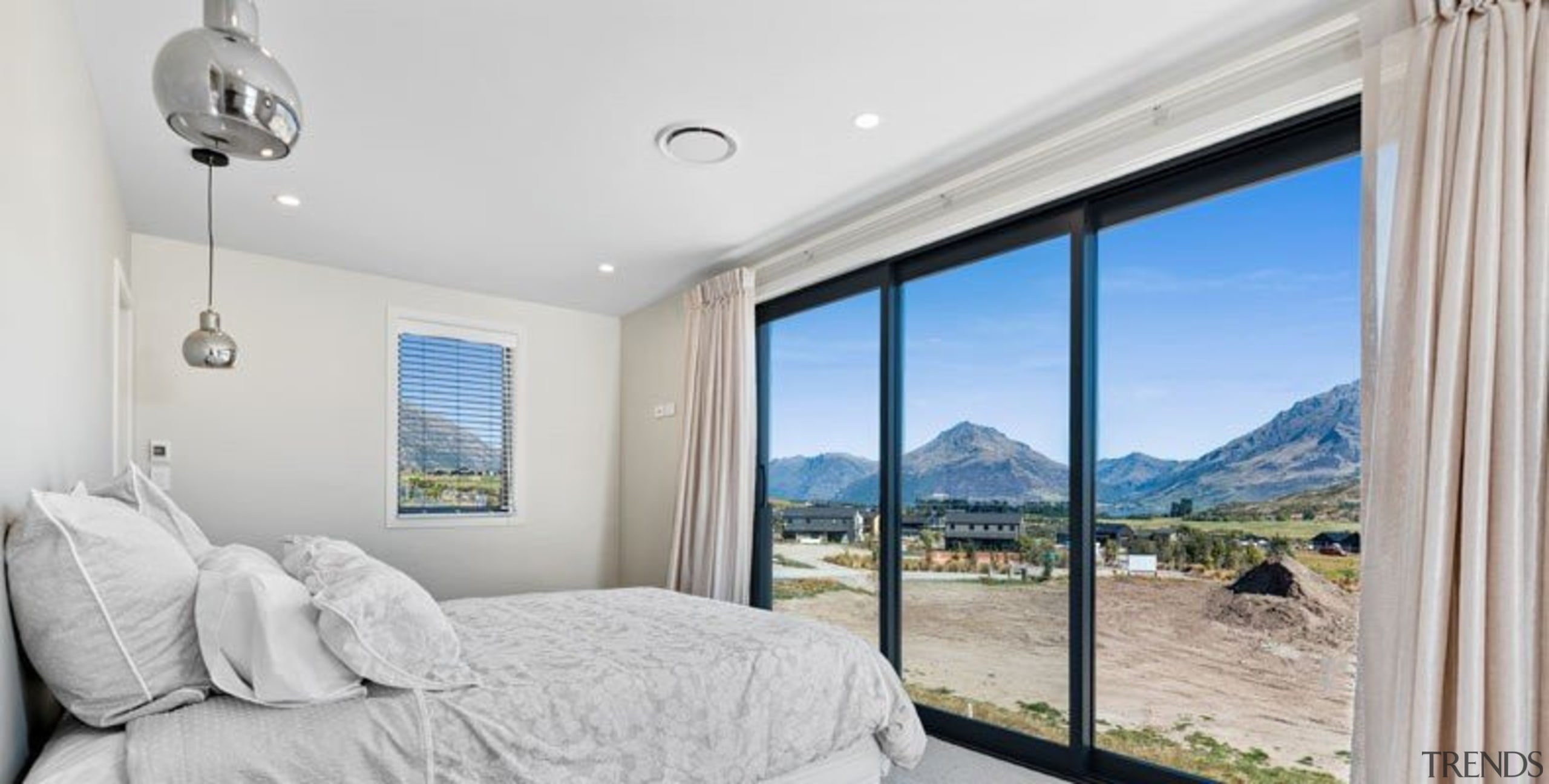 Stunning views from this master bedroom (Queenstown) bedroom, ceiling, estate, home, interior design, property, real estate, room, window, gray