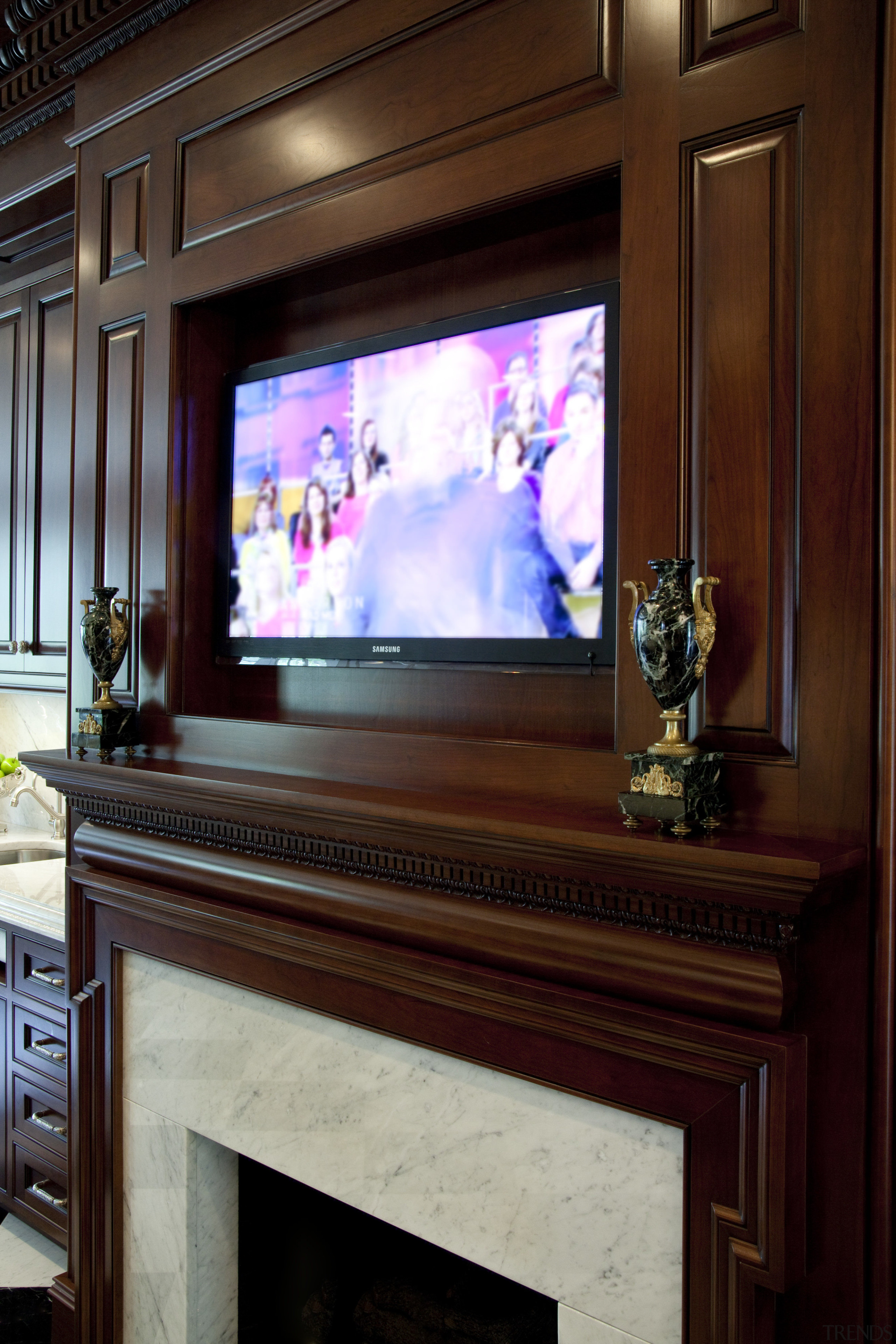 Now you see it, now you dont. A display device, entertainment, furniture, home, interior design, red