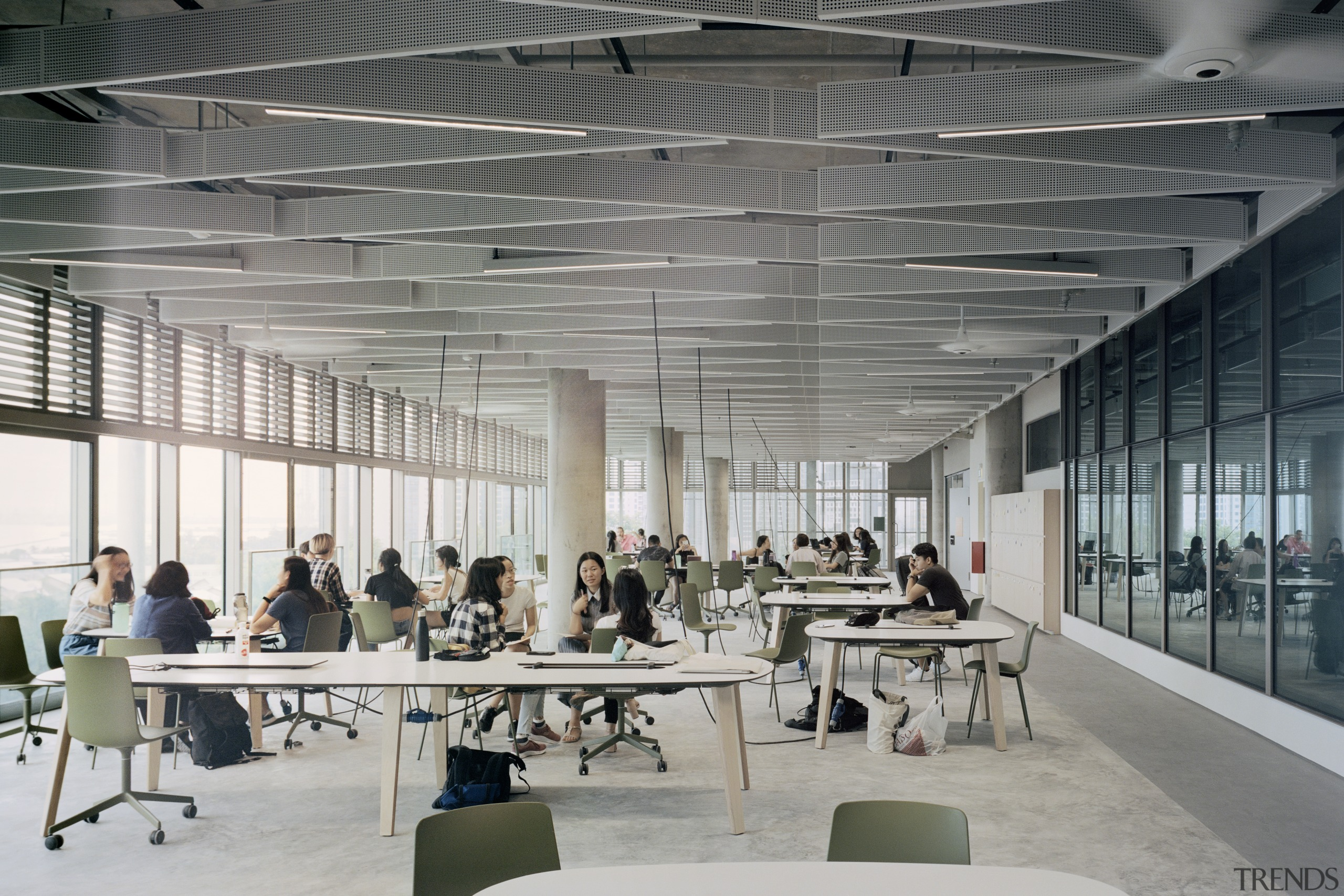 The modern SDE4 building draws on classic architectural architecture, building, ceiling, design, furniture, interior design, office, room, table, gray