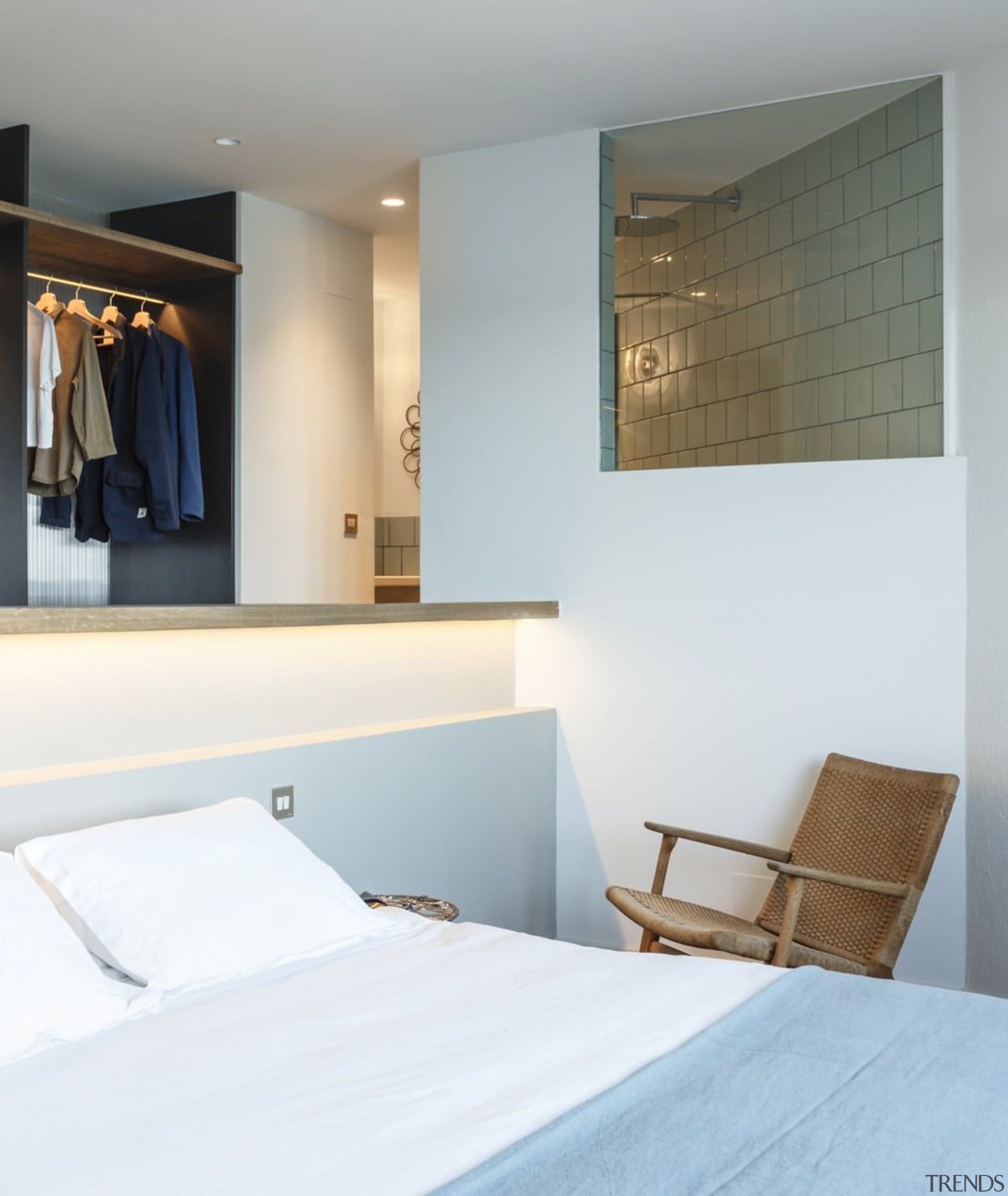 The bedroom features recessed lighting, meaning the room architecture, bed frame, bedroom, ceiling, furniture, home, interior design, room, suite, wall, white