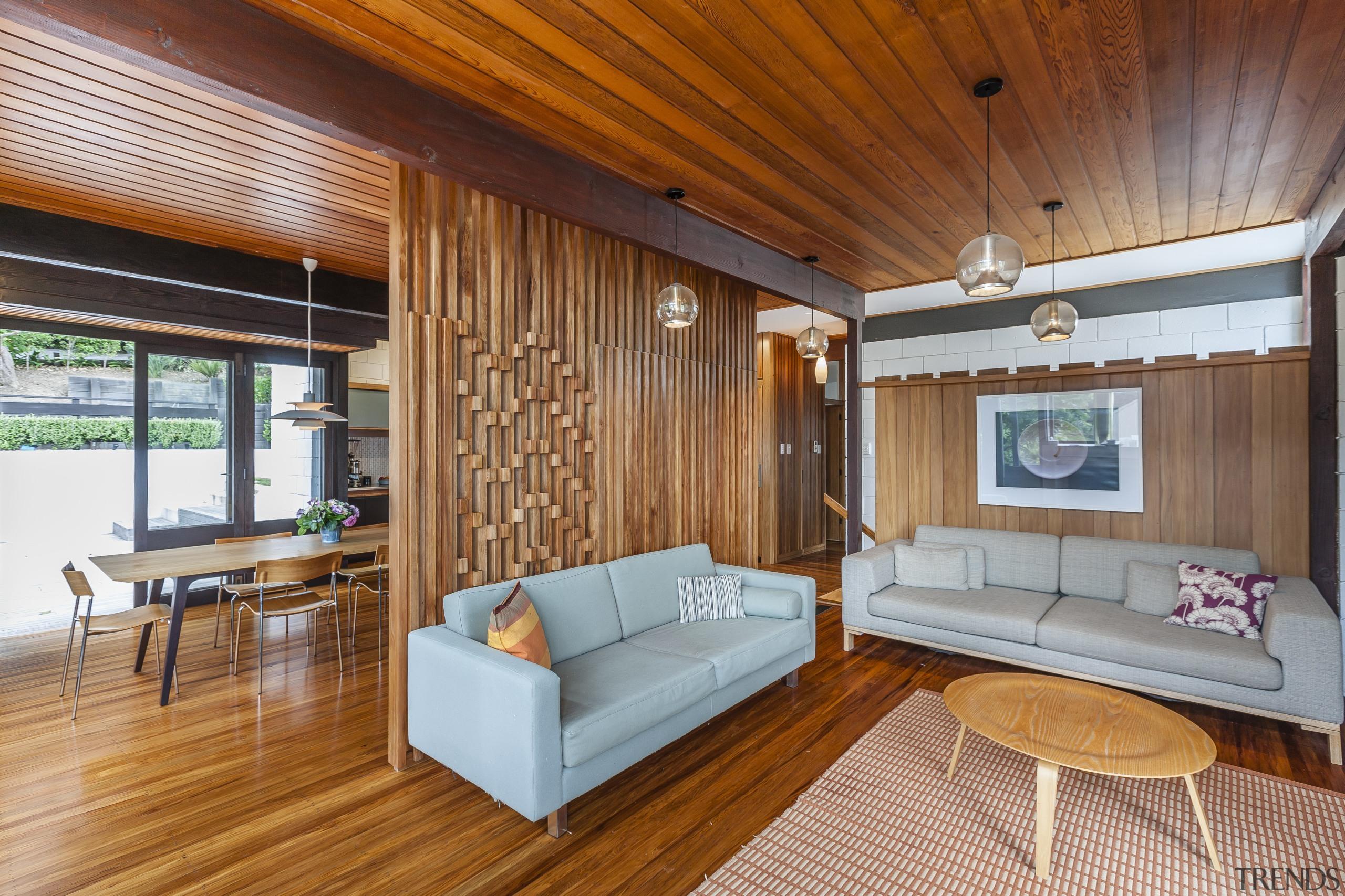 A veneer heart rimu dividing screen is a architecture, ceiling, estate, floor, hardwood, house, interior design, living room, real estate, room, suite, wood, wood flooring, brown