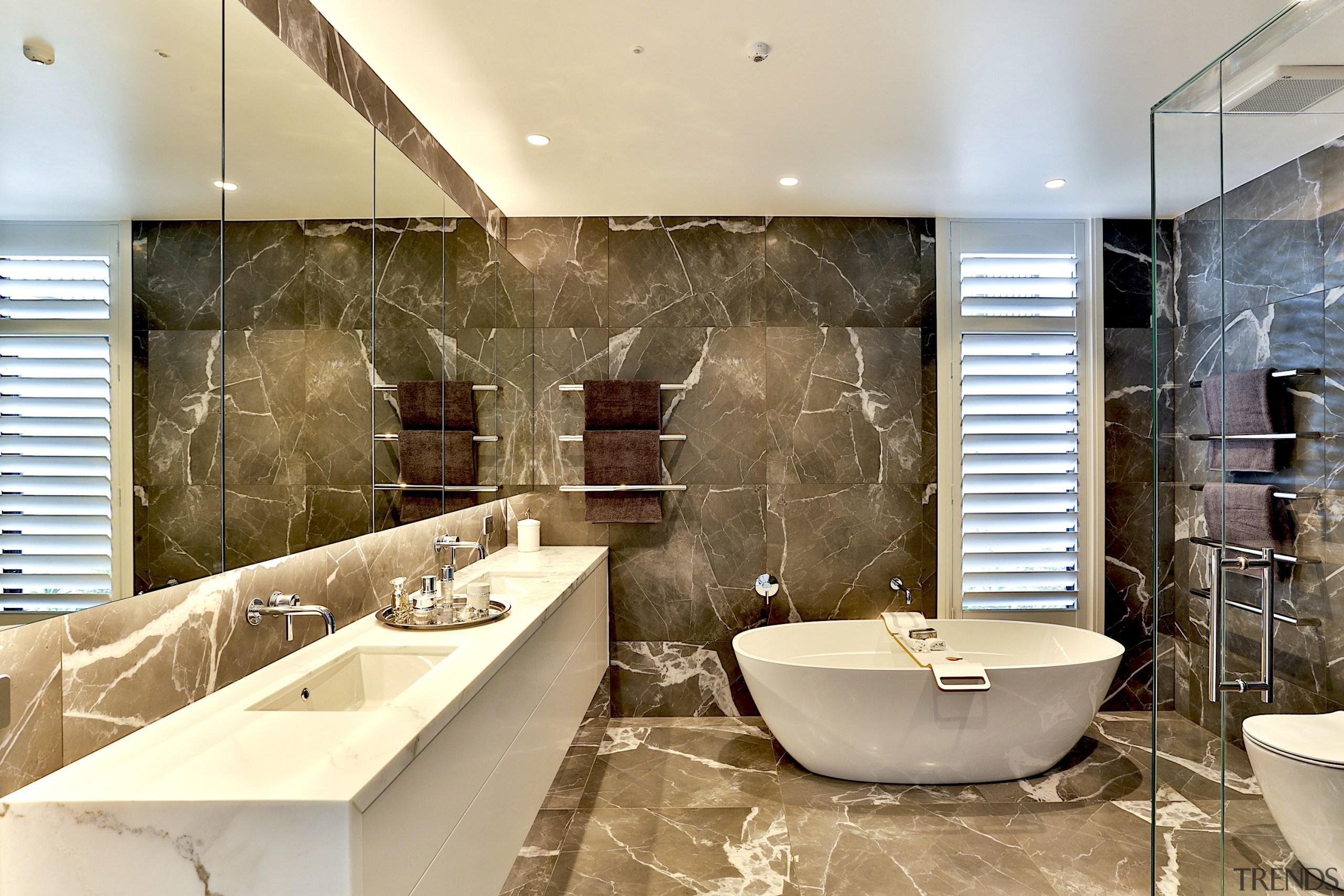 Dunlop Design – Winner – 2019 TIDA New architecture, bathroom, bathtub, building, ceiling, design, floor, flooring, furniture, home, house, interior design, marble, plumbing fixture, property, real estate, room, tap, tile, wall, orange, brown