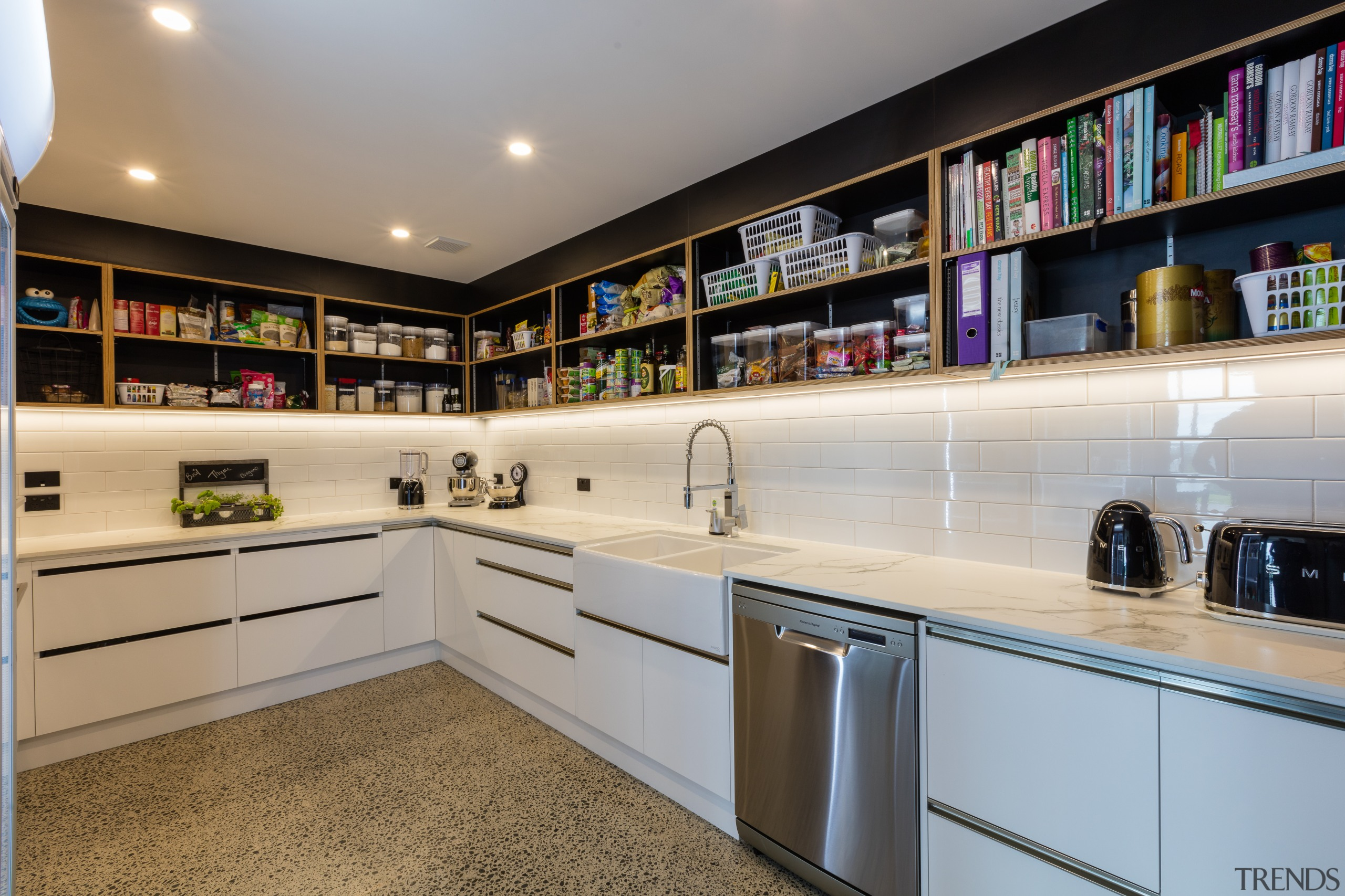 Open shelving makes for speedy access of contents cabinetry, countertop, interior design, kitchen, real estate, gray