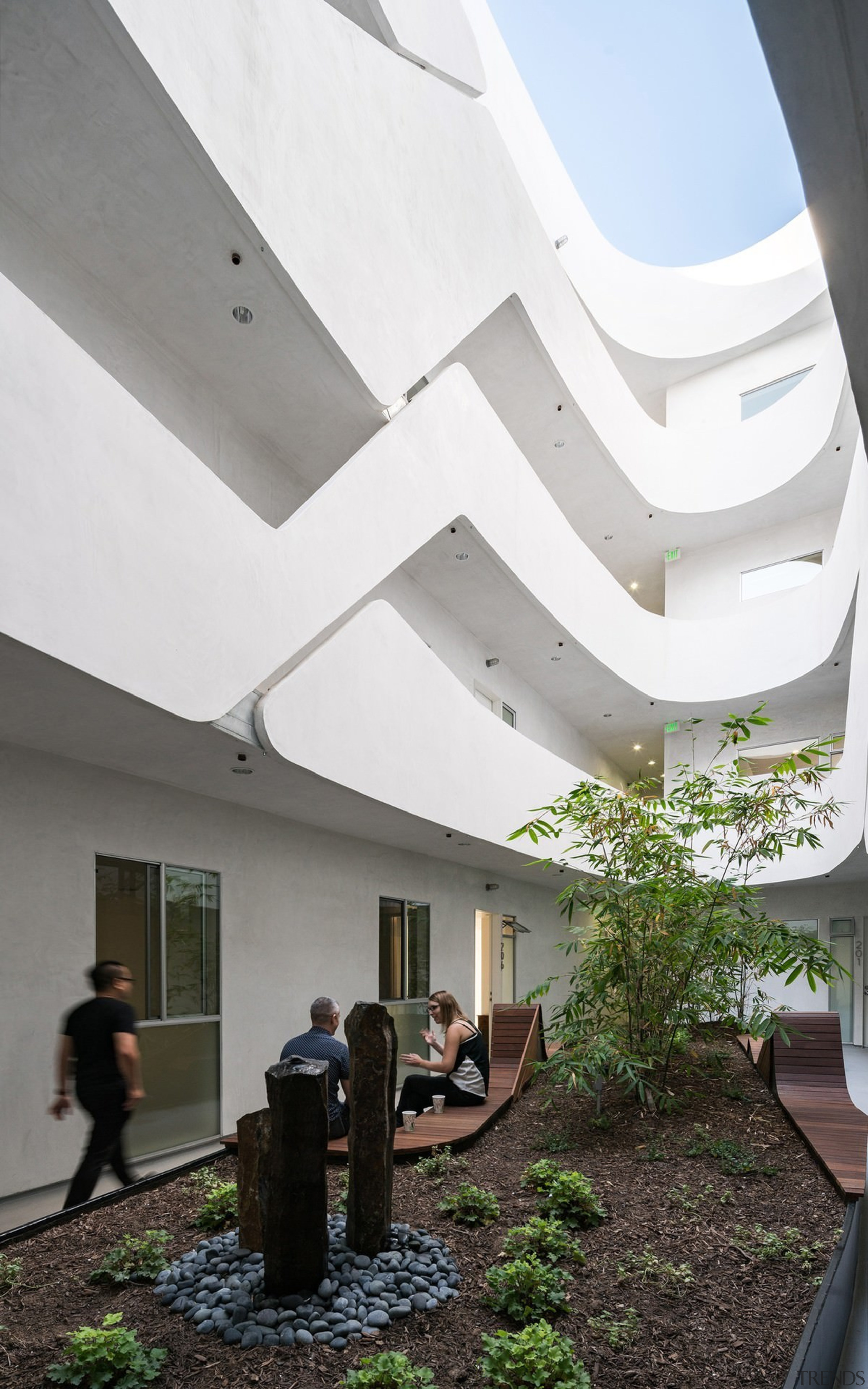 The garden on the ground floor - The architecture, ceiling, daylighting, house, interior design, white, gray