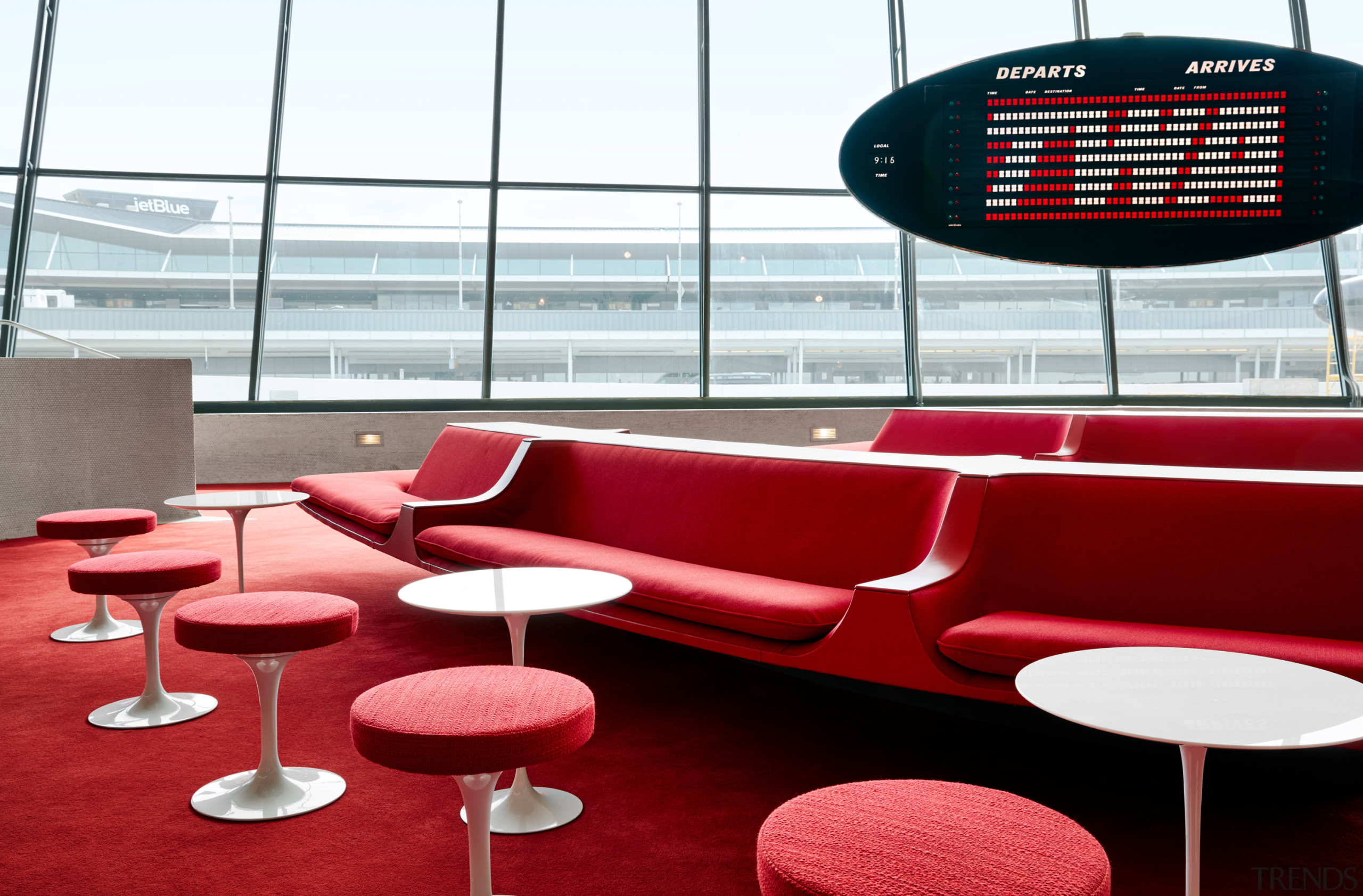 The Sunken Lounge at the TWA Hotel features architecture, Sunken Lounge, TWA Hotel, Chilli Pepper Red Carpet, penny tile