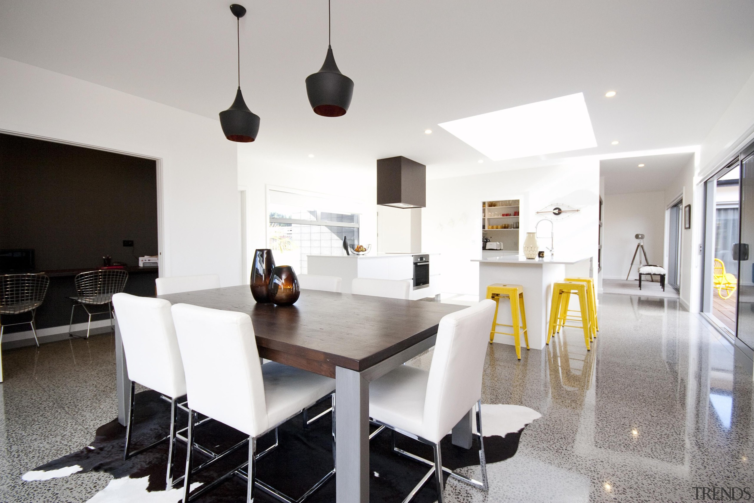 Open plan living at its best in this architecture, dining room, house, interior design, property, real estate, table, gray