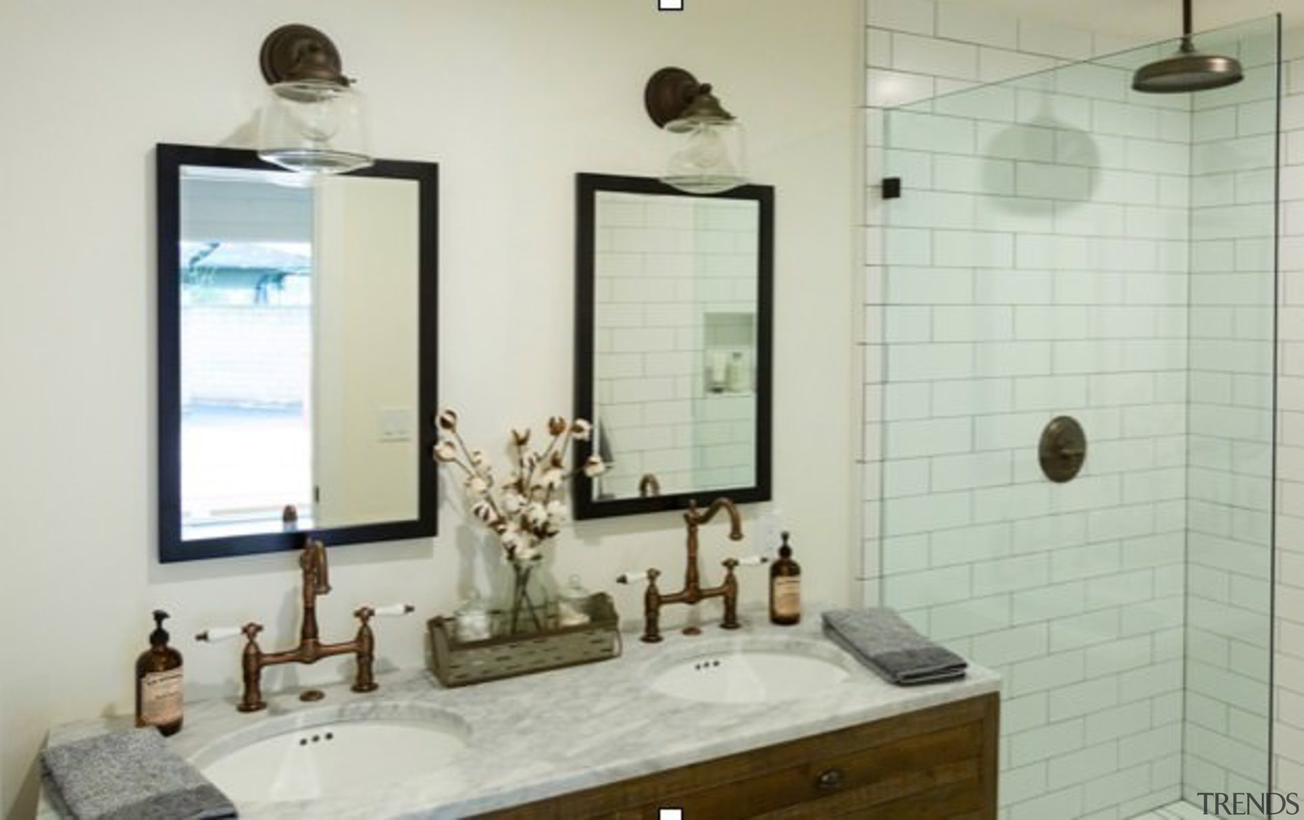 His and hers sinks (and mirrors) make this bathroom, bathroom accessory, home, interior design, plumbing fixture, property, room, sink, gray