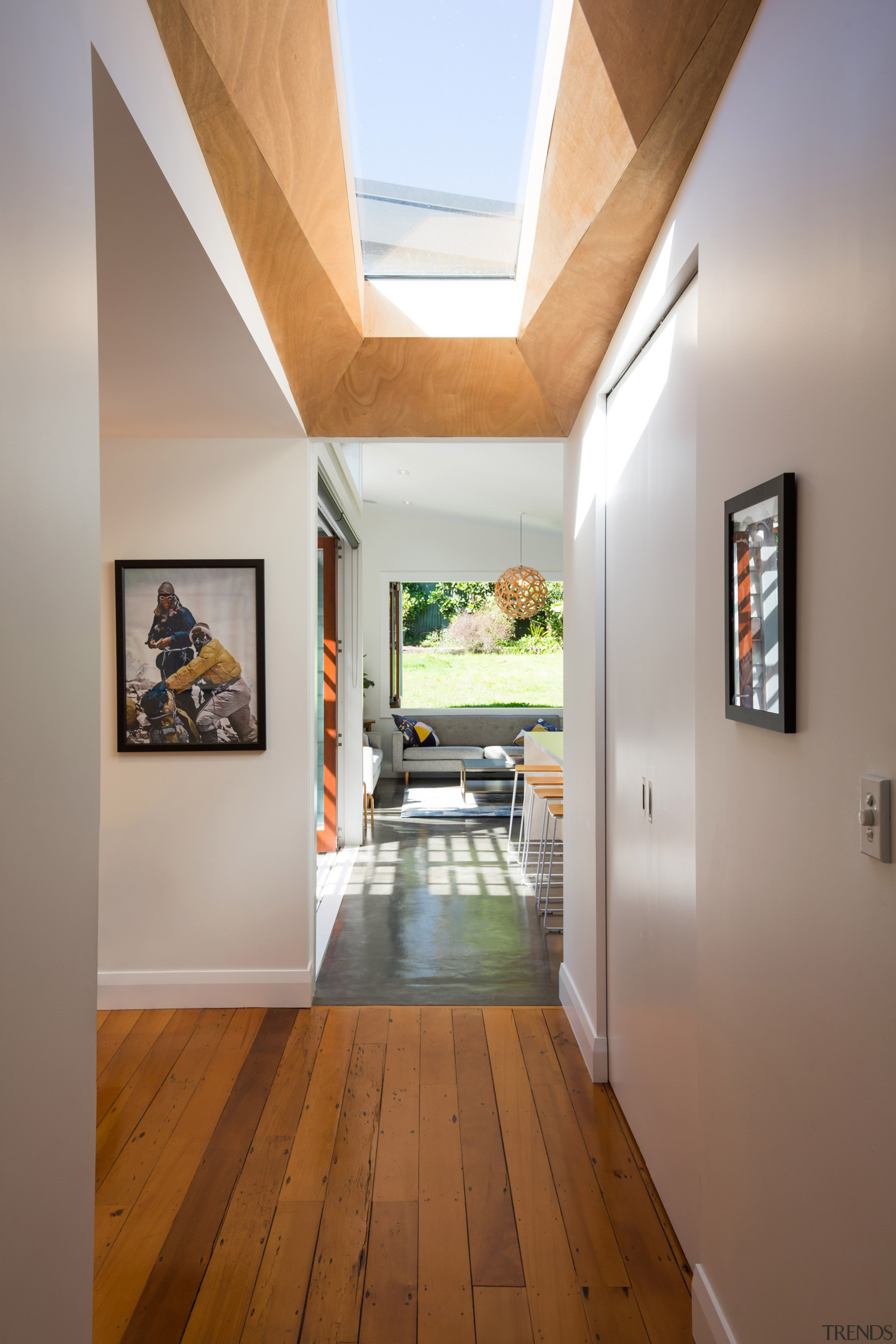 This project involved a rear addition to an architecture, ceiling, daylighting, floor, flooring, hardwood, home, house, interior design, real estate, wood, wood flooring, gray, brown