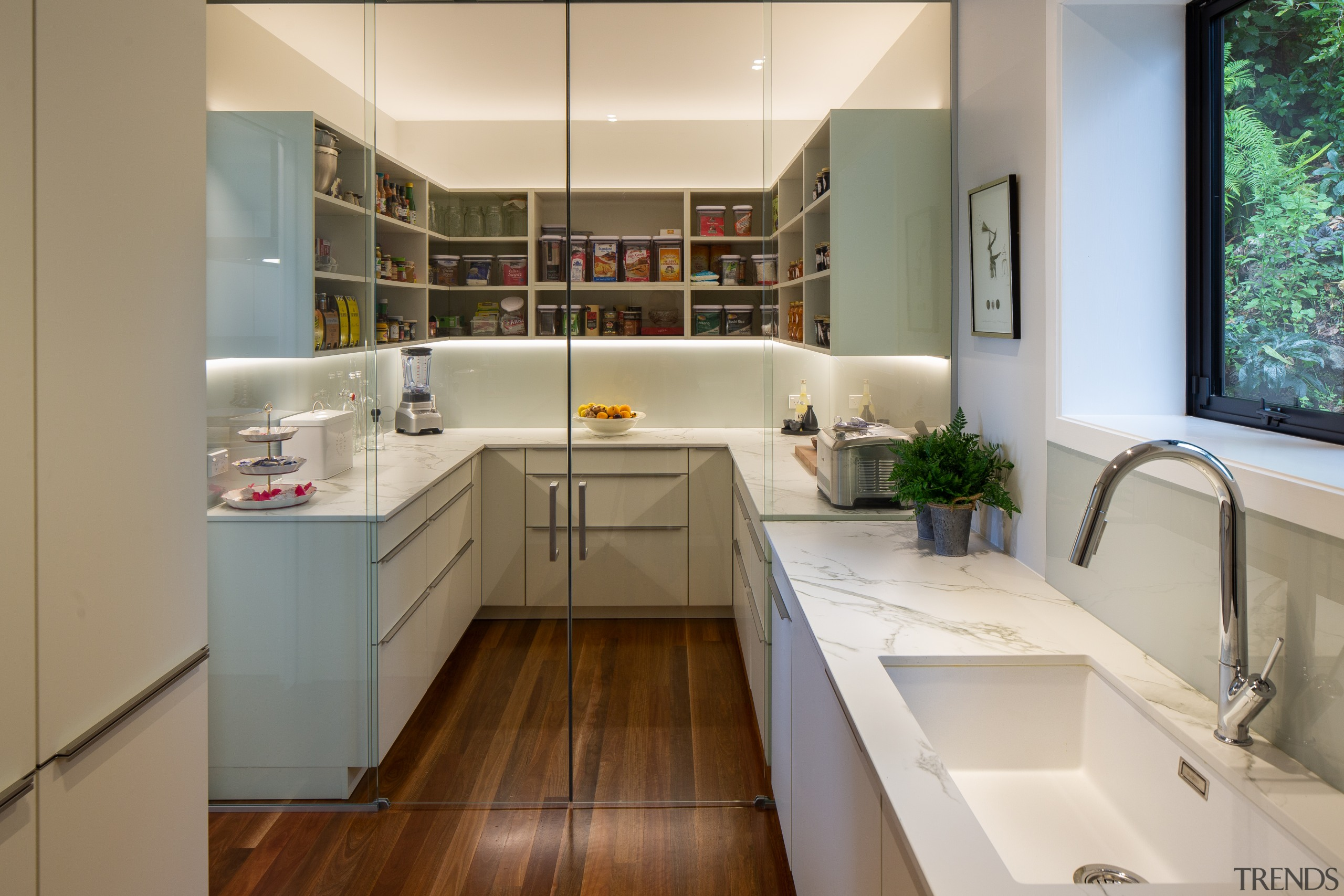 For this kitchen, a glass wall and door architecture, bathroom, building, cabinetry, ceiling, countertop, cupboard, design, floor, flooring, furniture, hardwood, home, house, interior design, kitchen, material property, property, real estate, room, sink, tile, wood flooring, gray, brown
