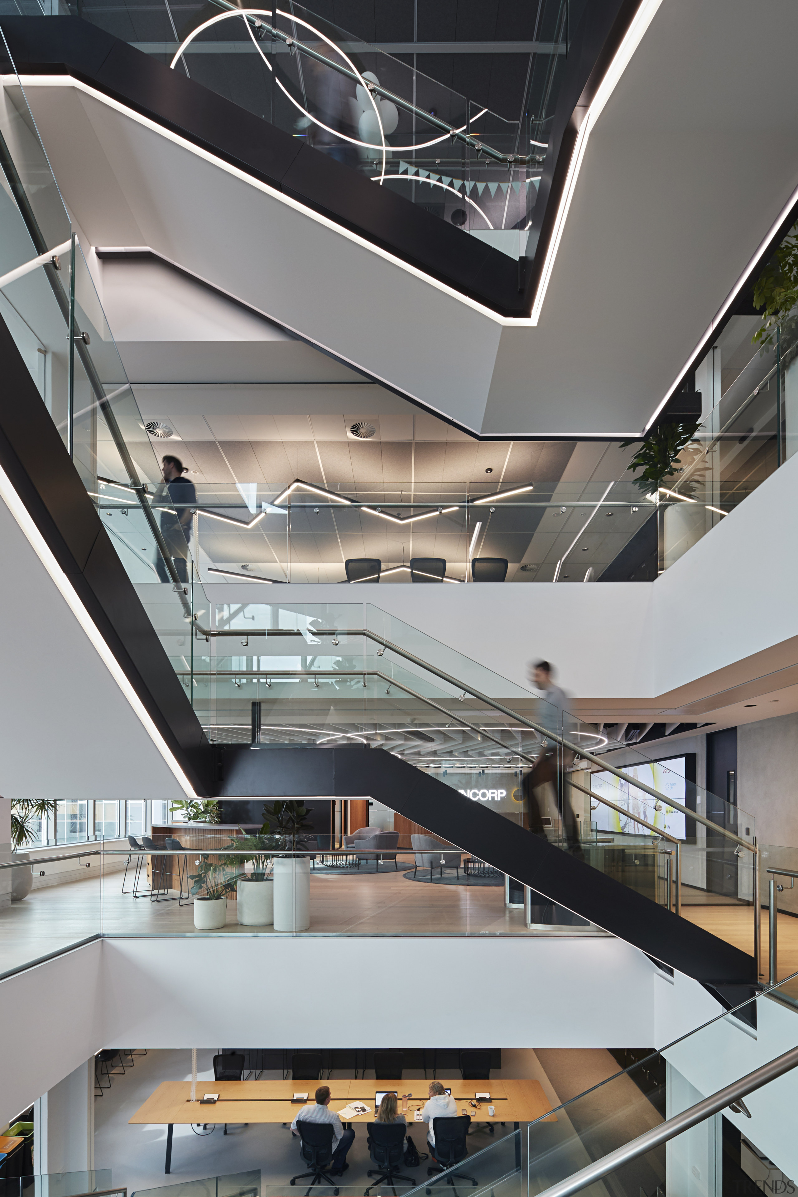 From the 13th floor public entry space, visitors architecture, building, ceiling, commercial building, daylighting, glass, handrail, interior design, lobby, mixed use, stairs, gray
