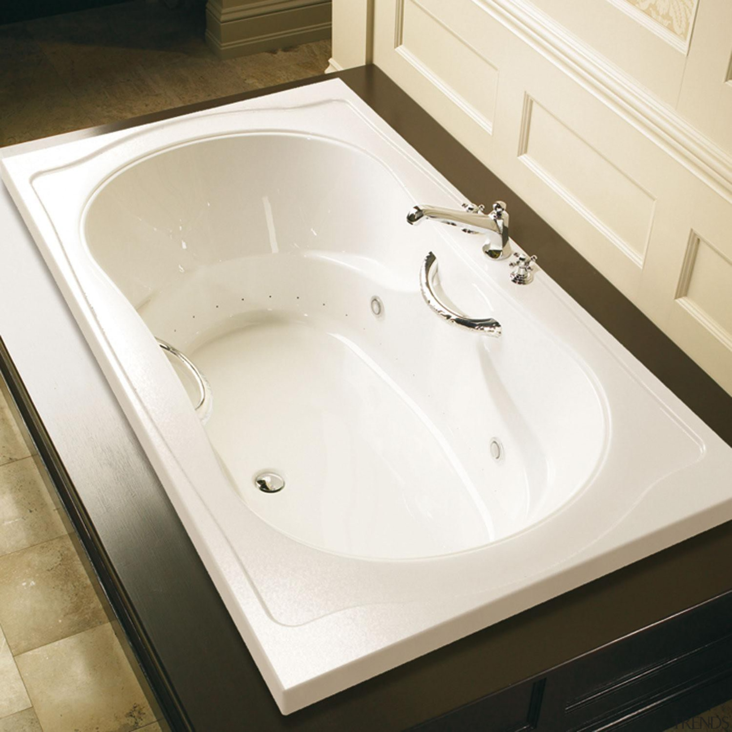 This bath can be installed either in a angle, bathroom, bathroom sink, bathtub, ceramic, countertop, floor, plumbing fixture, product design, sink, tap, tile, toilet seat, white