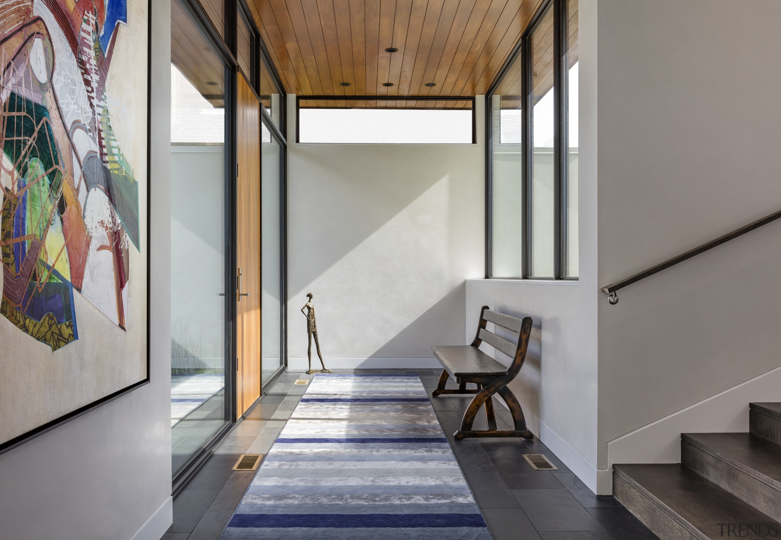 Site's unusual aspects used as design inspiration for architecture, floor, house, interior design, stairs, entranceway, Peterssen Keller Architects