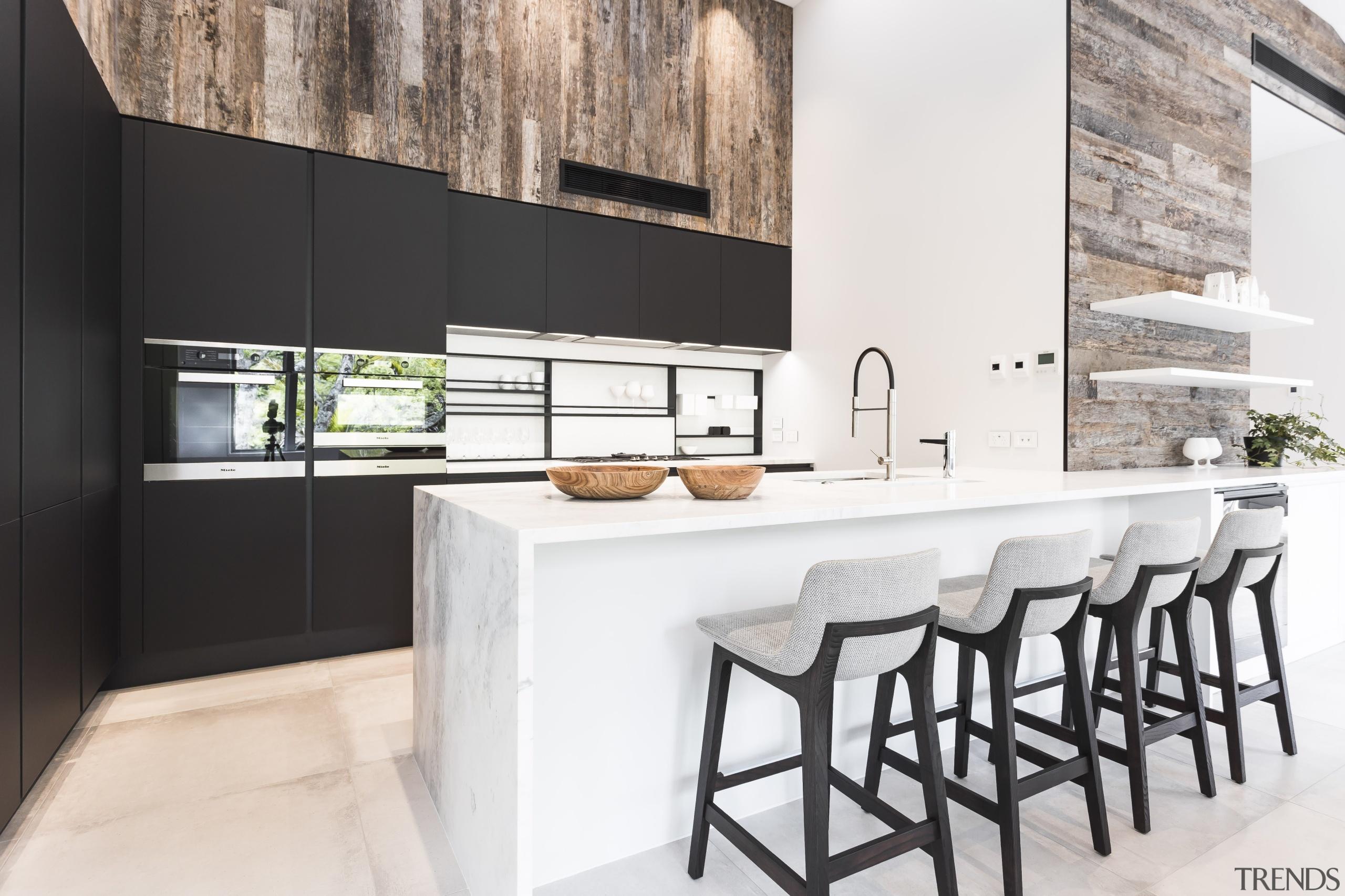 Antique wood panelling used in the living area countertop, cuisine classique, furniture, interior design, kitchen, white, black