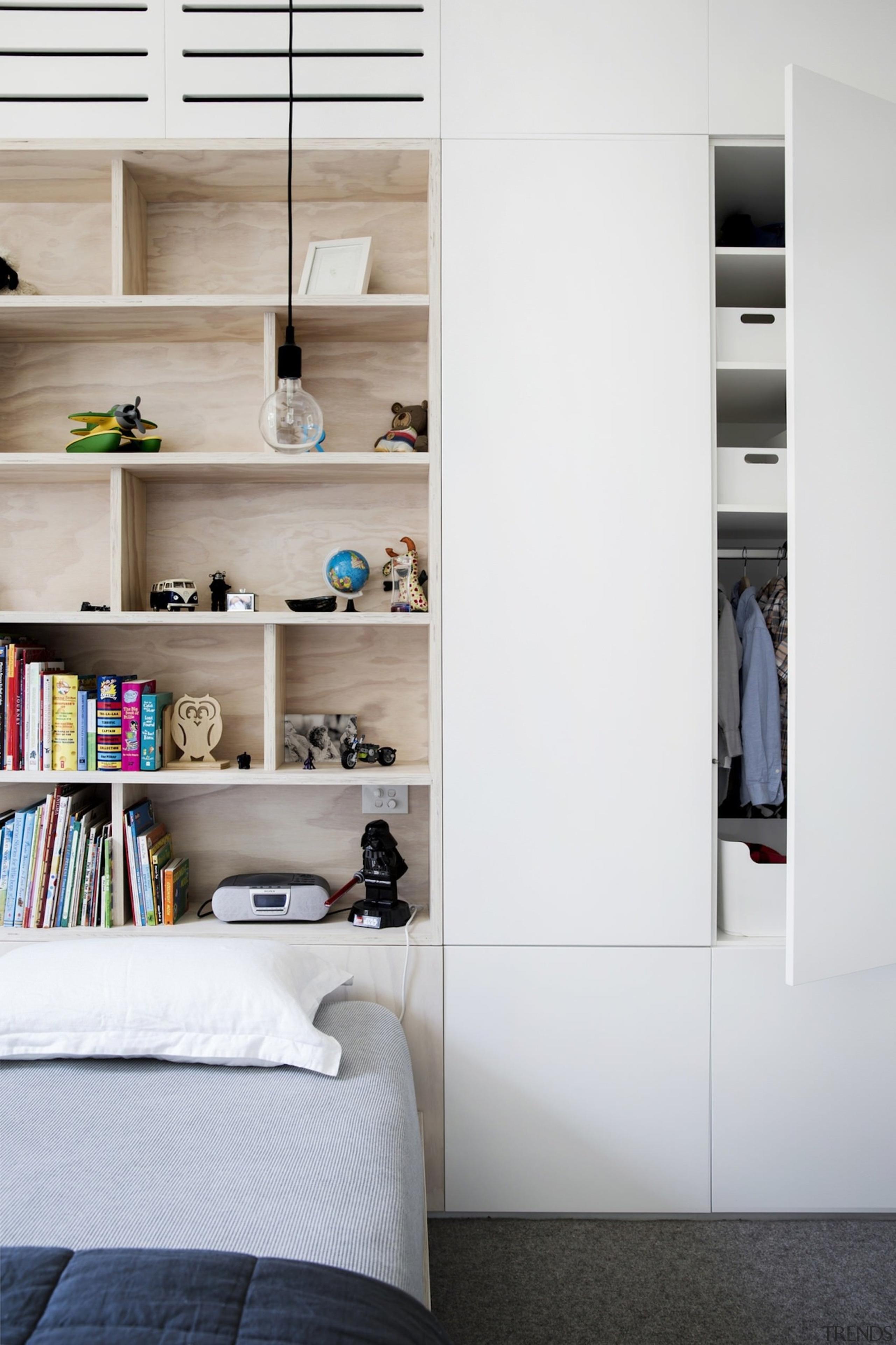 Architect: Architect PrineasPhotography by Chris Warnes closet, furniture, interior design, room, shelf, shelving, wall, wardrobe, white