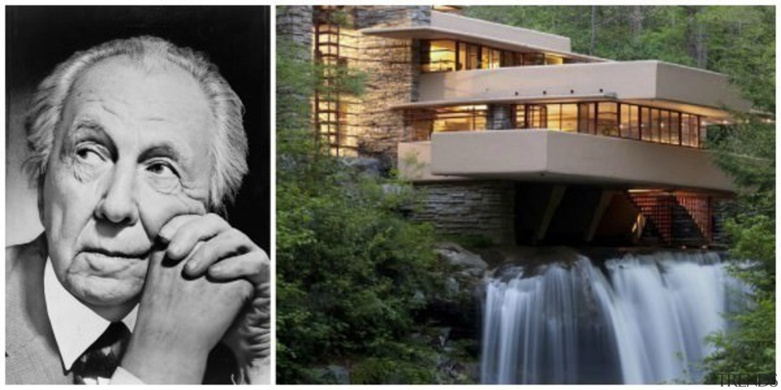 Frank Lloyd Wright and his famous Fallingwater - home, water, gray