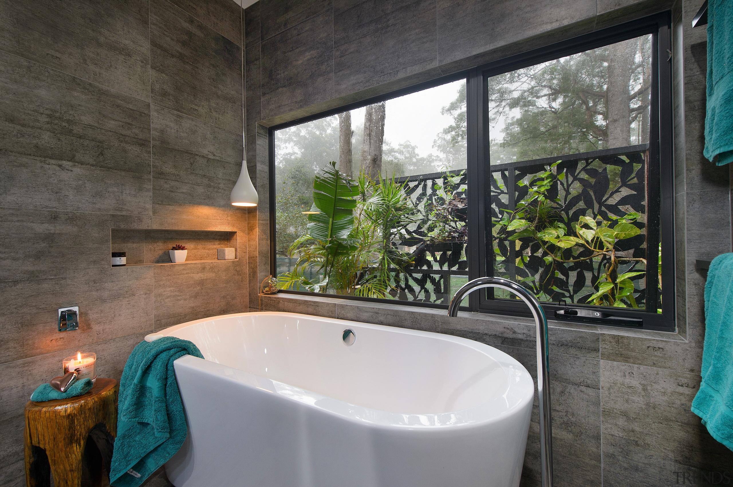 Its a jungle sometimes  the tropical garden architecture, bathroom, bathtub, estate, home, house, interior design, property, real estate, room, window, black, gray