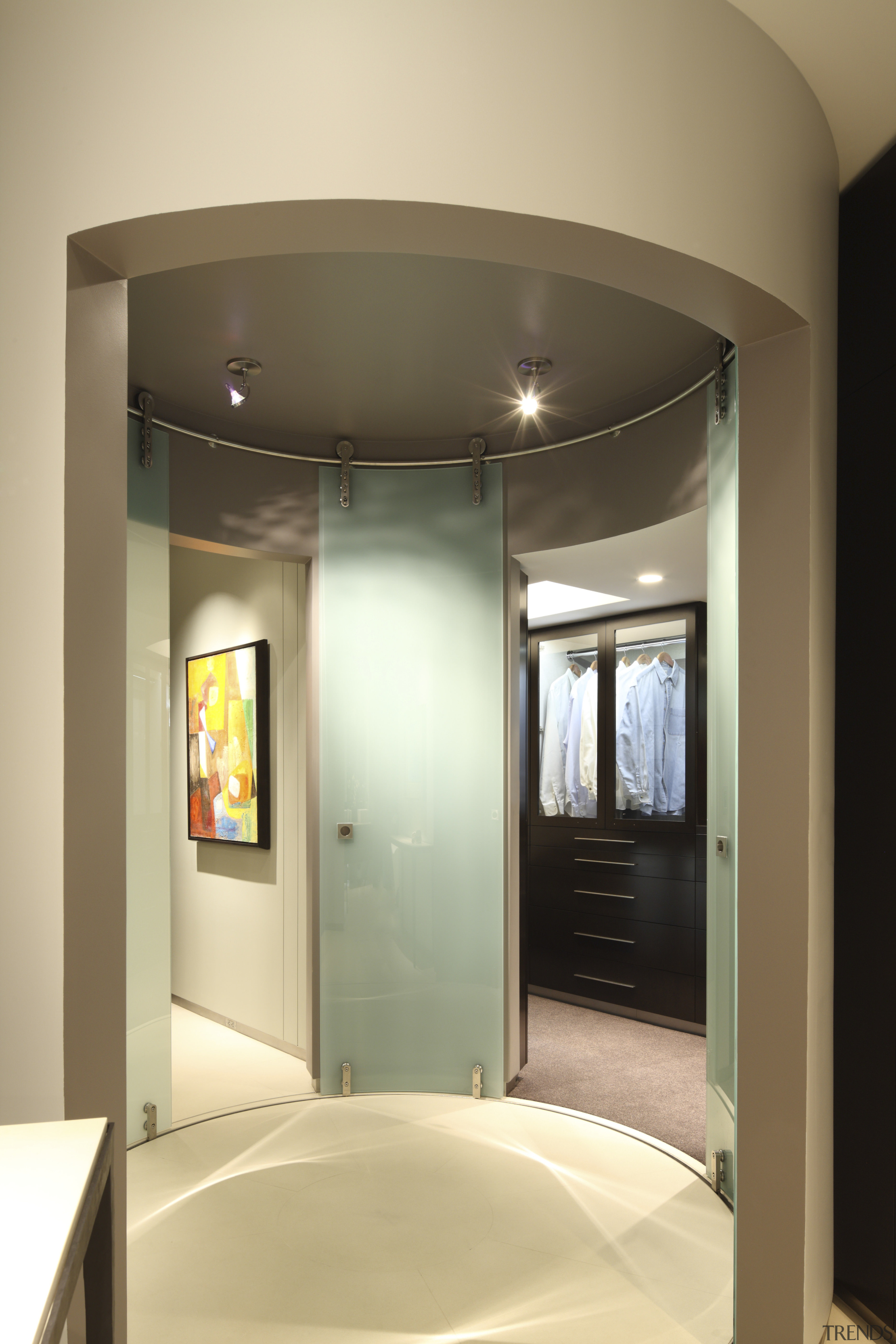 View of circular mirror feature. - View of architecture, bathroom, ceiling, door, interior design, room, orange, brown