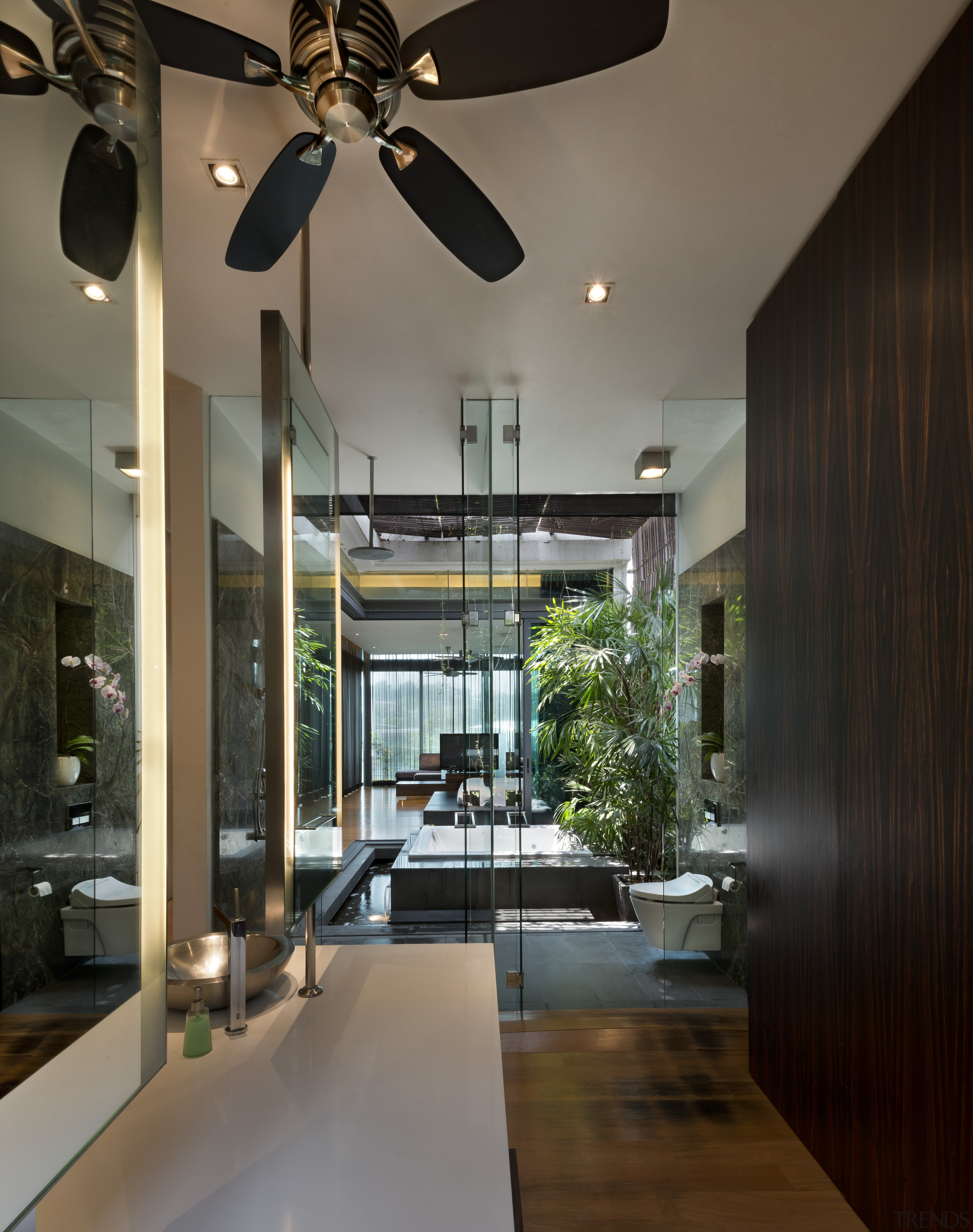 Glass walls allow a view right through this architecture, ceiling, condominium, home, house, interior design, living room, lobby, black, gray