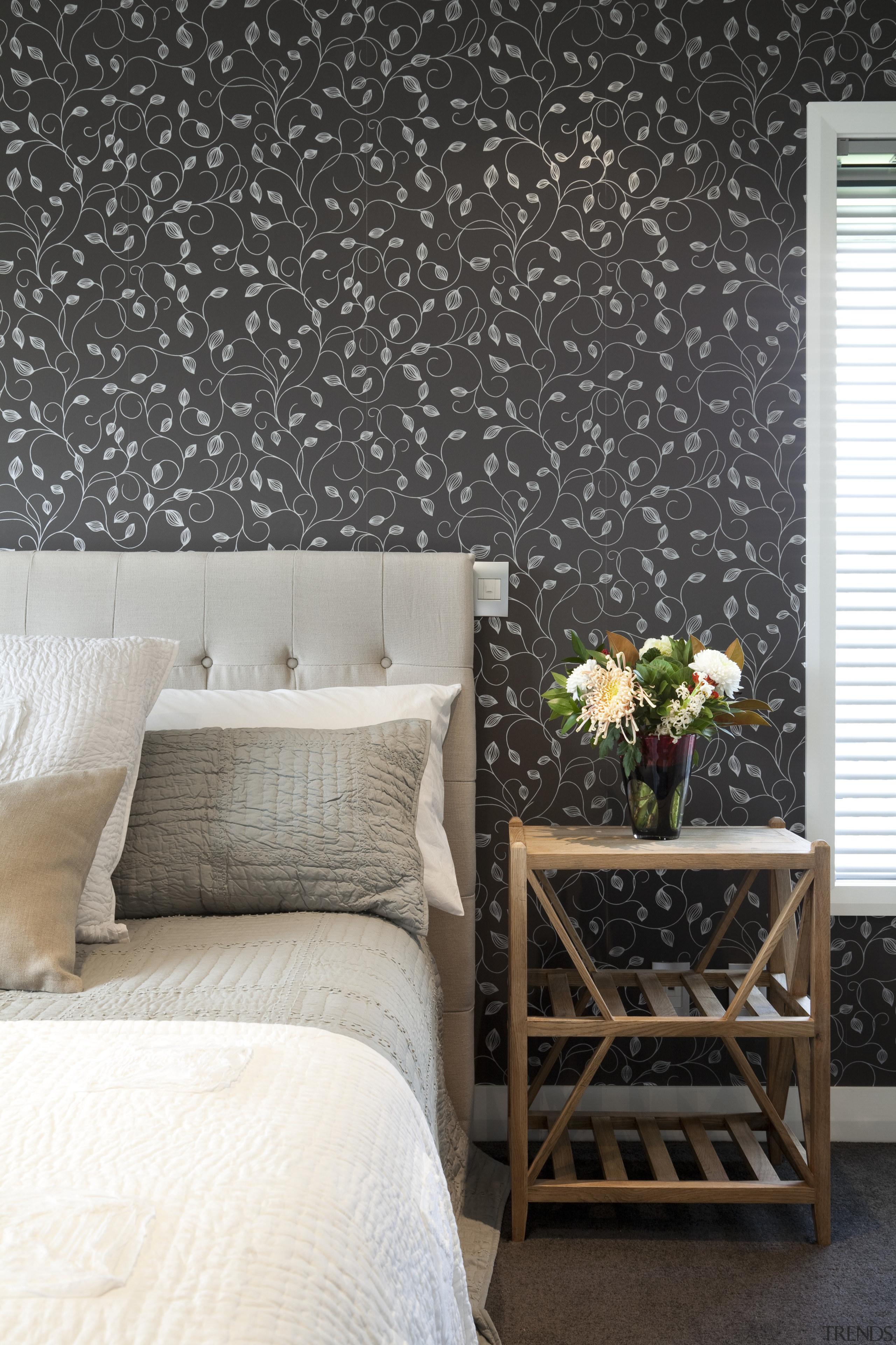 wallpaper in bedroom - wallpaper in bedroom - bed frame, bedroom, floor, furniture, home, interior design, living room, room, table, wall, wallpaper, black, white