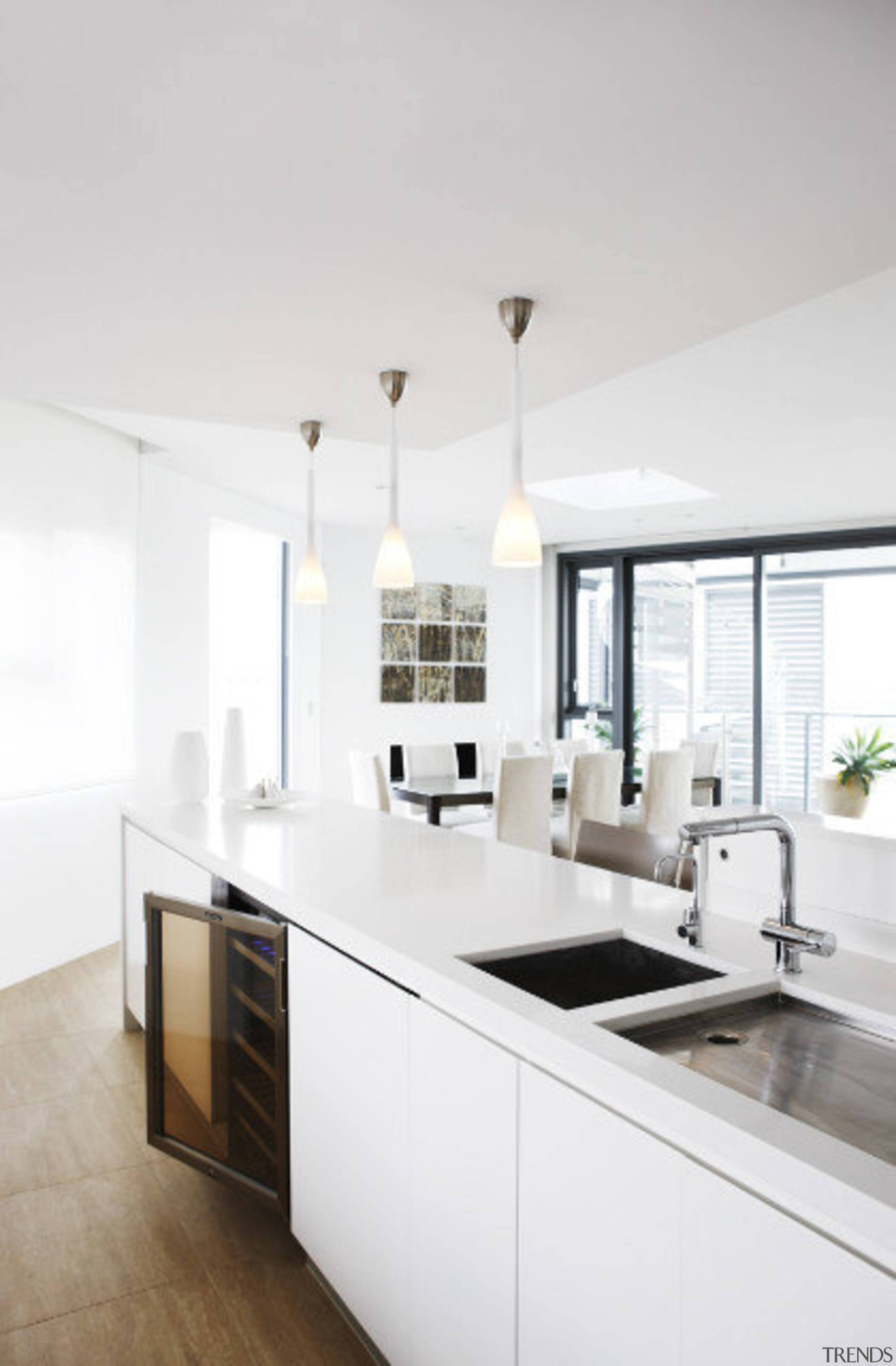 View of a modern kitchen which features a ceiling, countertop, cuisine classique, home, interior design, kitchen, room, white