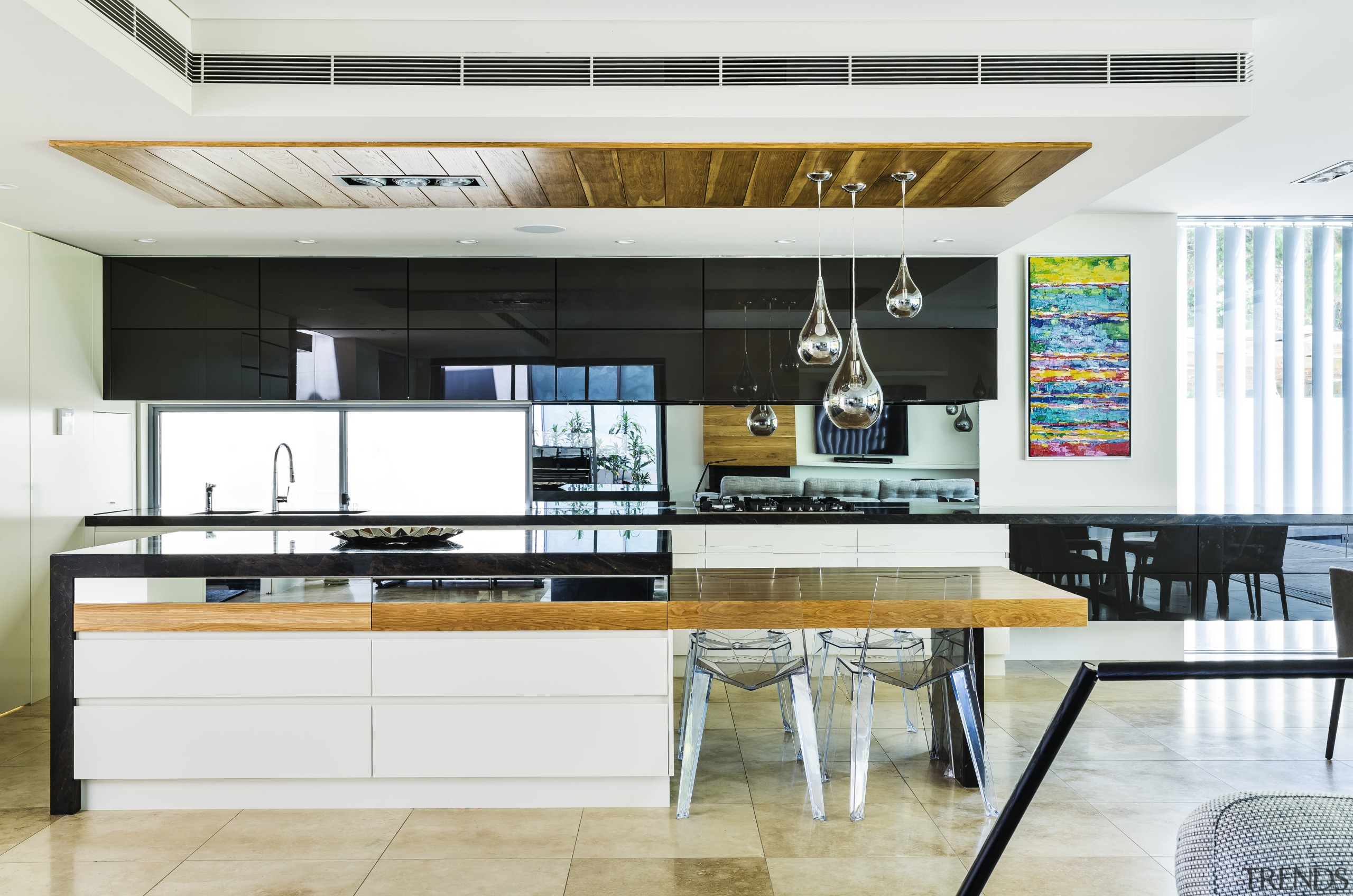 This kitchen, supported by a walk-in pantry, offers countertop, kitchen, white, timber, granite countertop, American Oak, WK Stone, Franke, Miele, Giles & Tribe