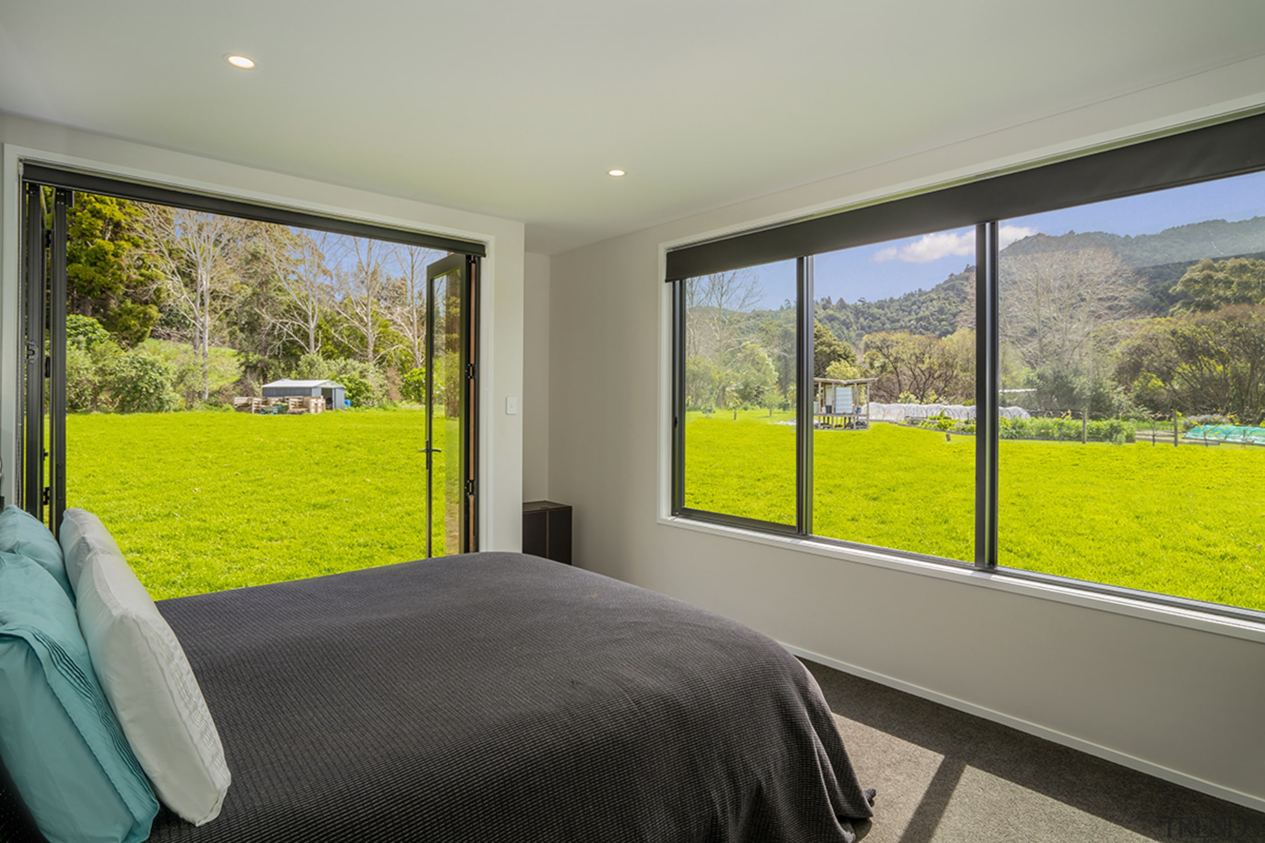In this Landmark Homes residence even the bedrooms gray