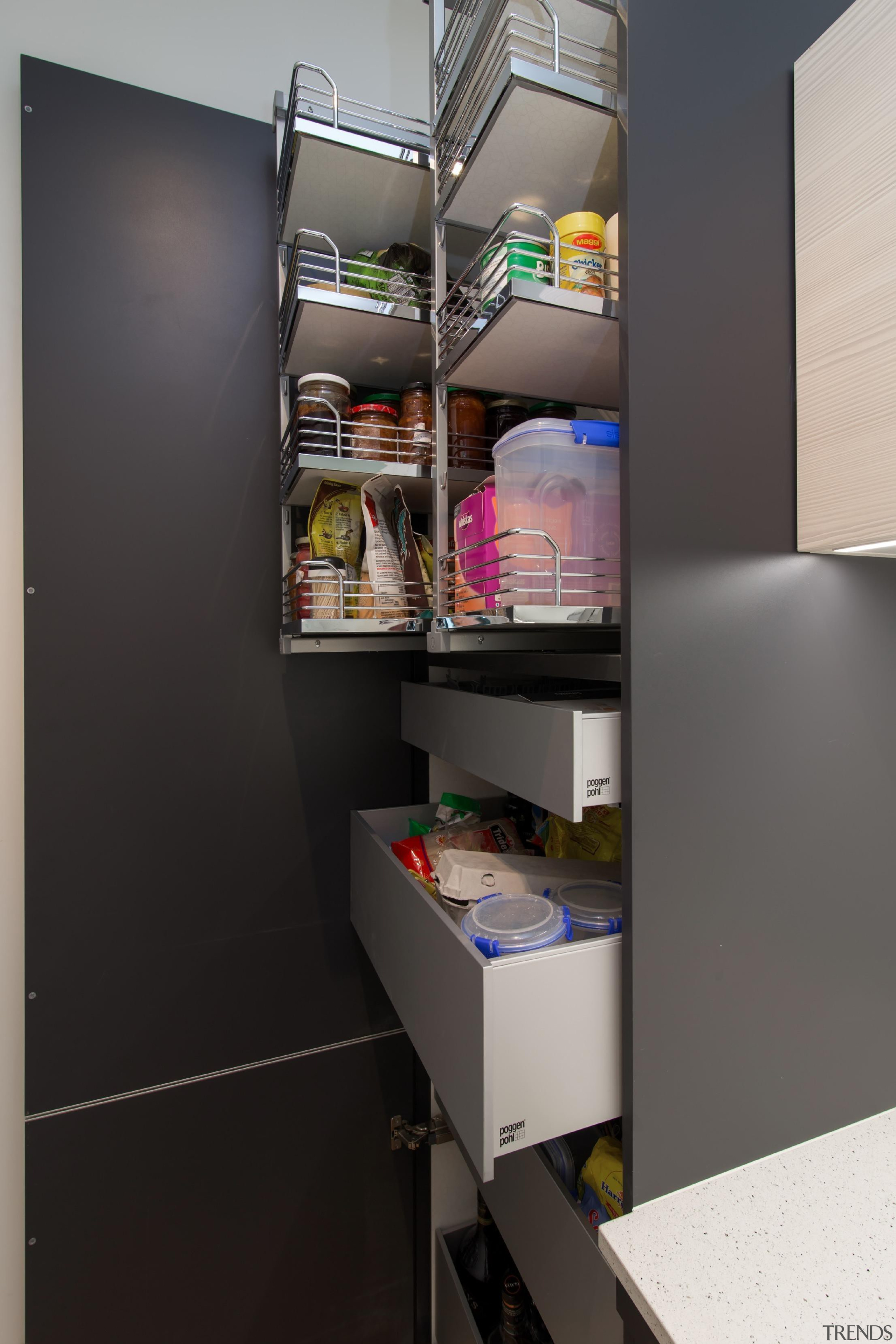 Great storage ideas for your pantry - fit furniture, product design, refrigerator, shelf, shelving, black, gray